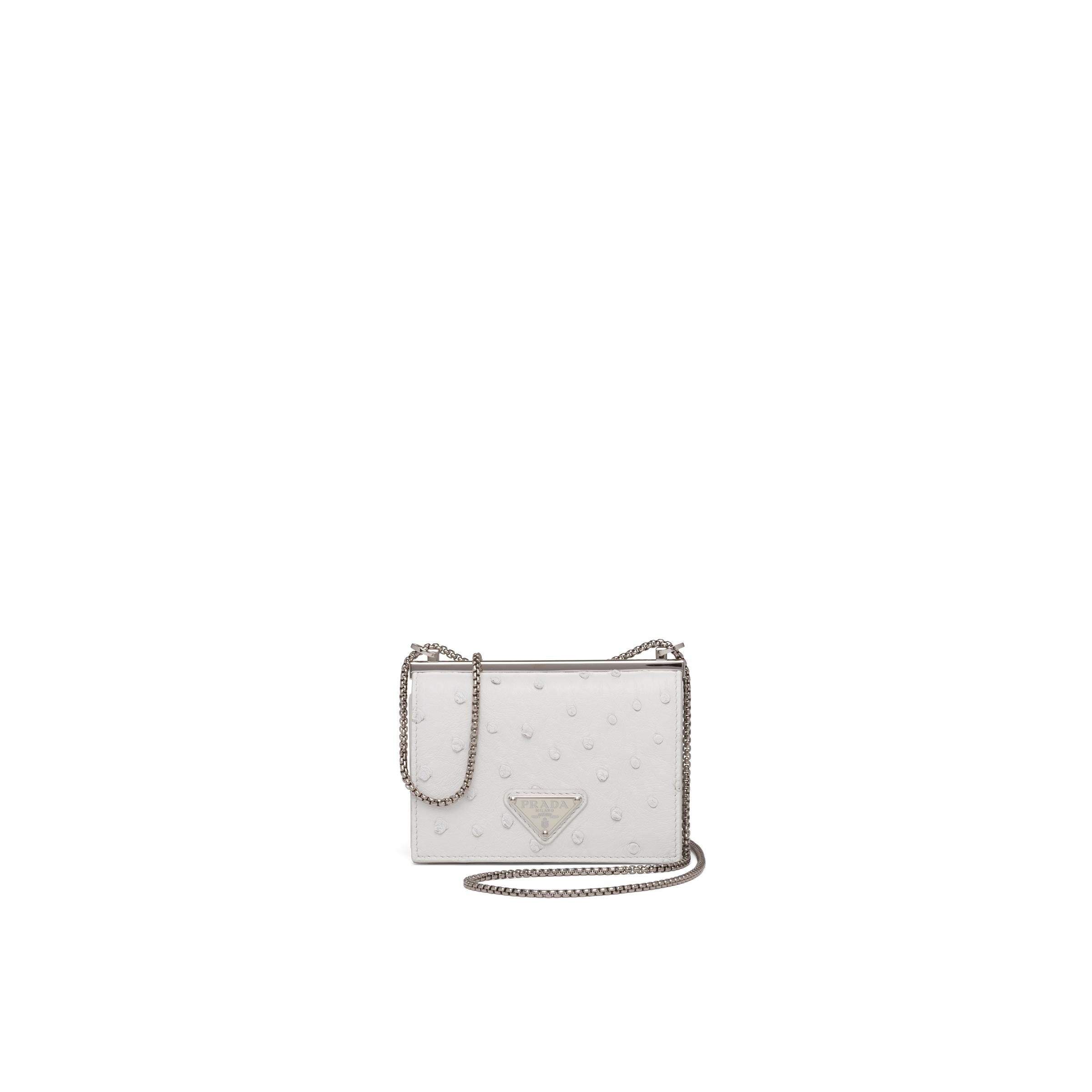 Ostrich Leather Card Holder With Shoulder Strap Women White