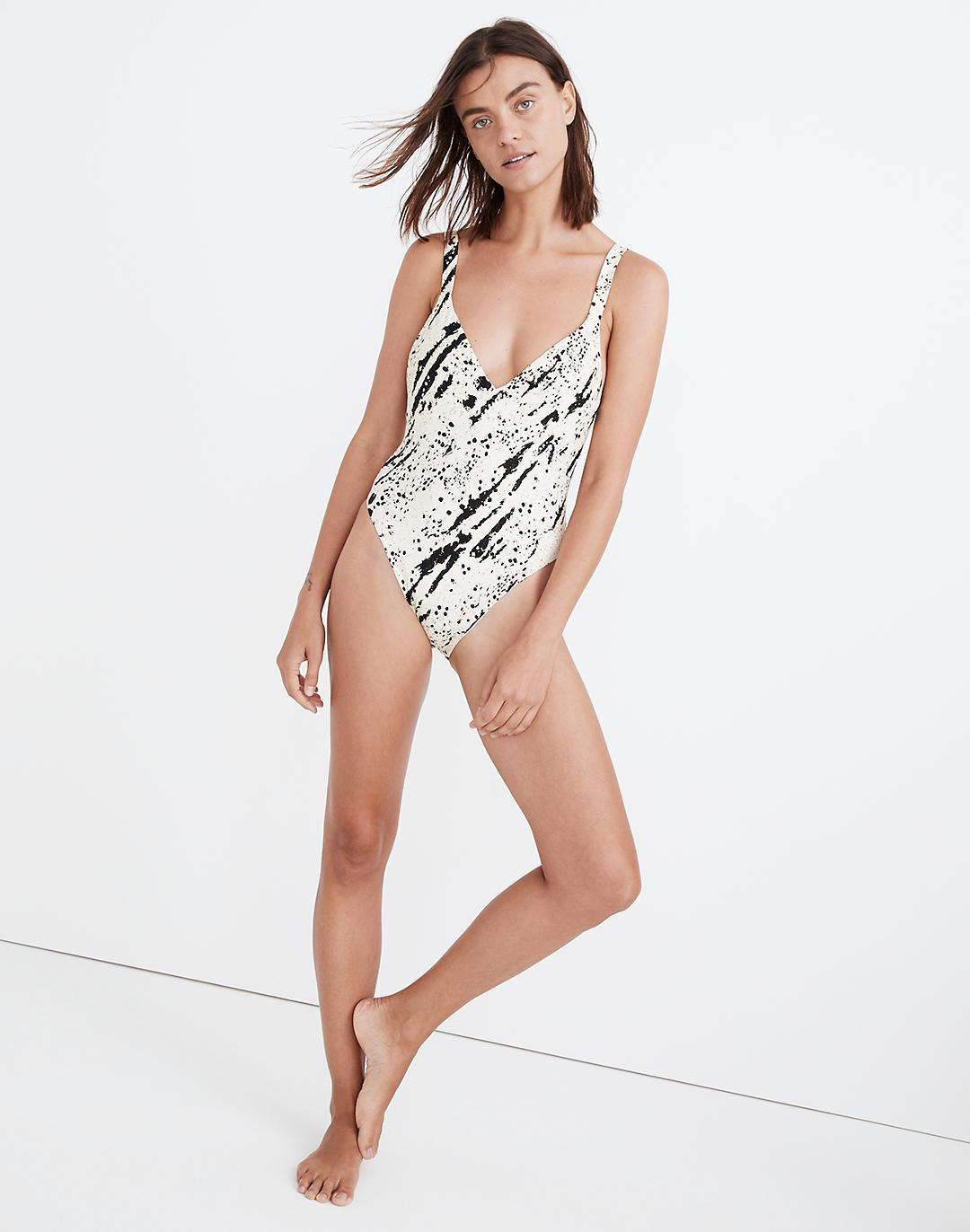Madewell Second Wave Maillot One-Piece Swimsuit in Speckled Tiger
