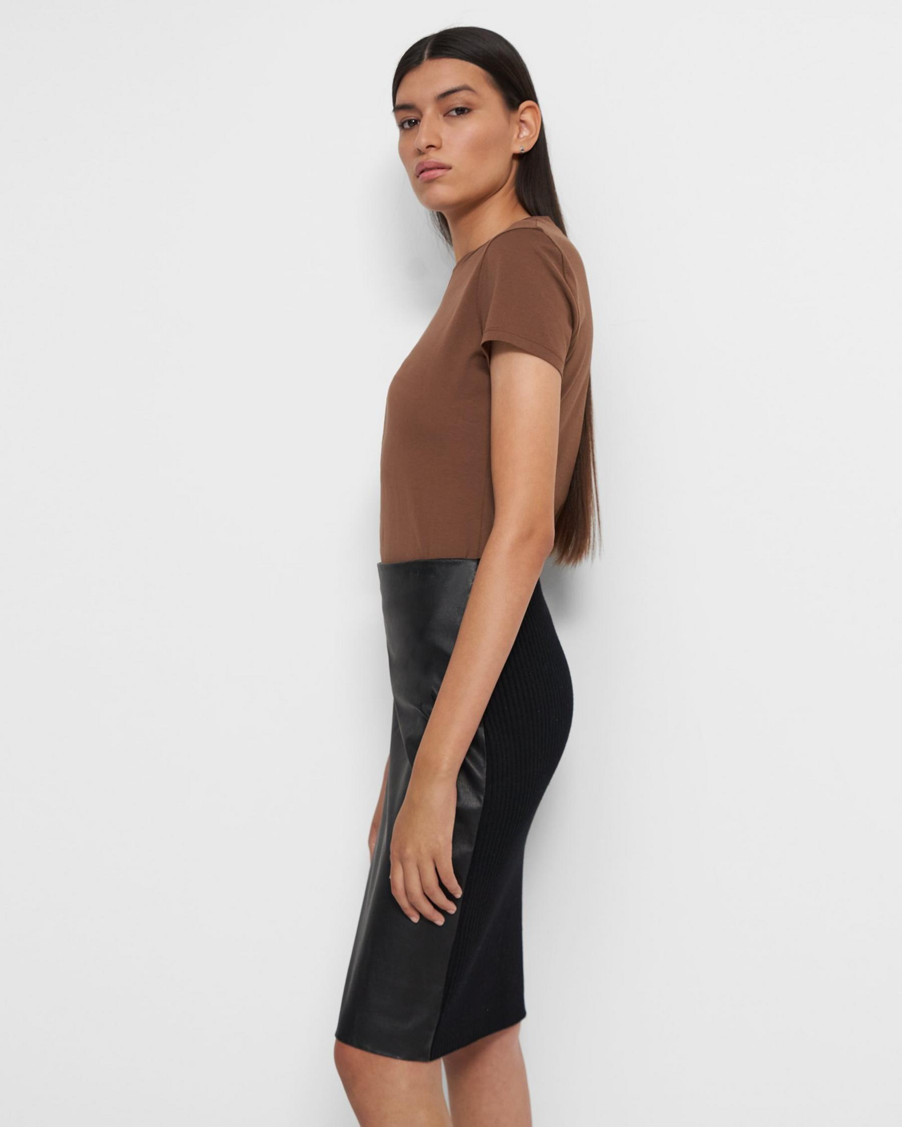 Pencil Skirt in Leather Combo 1