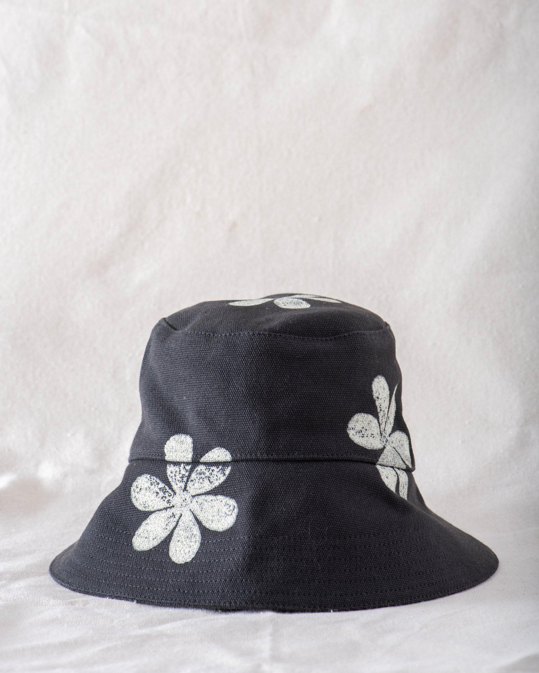 The Bucket Hat. -- Washed Black with Daisy Stamp