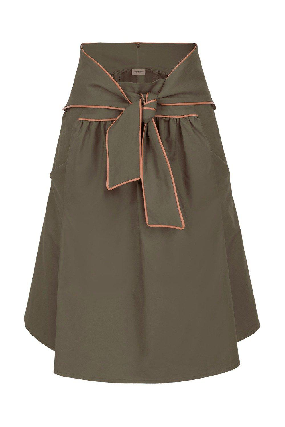 Horse Skin Solid Short Skirt with Knot Detail