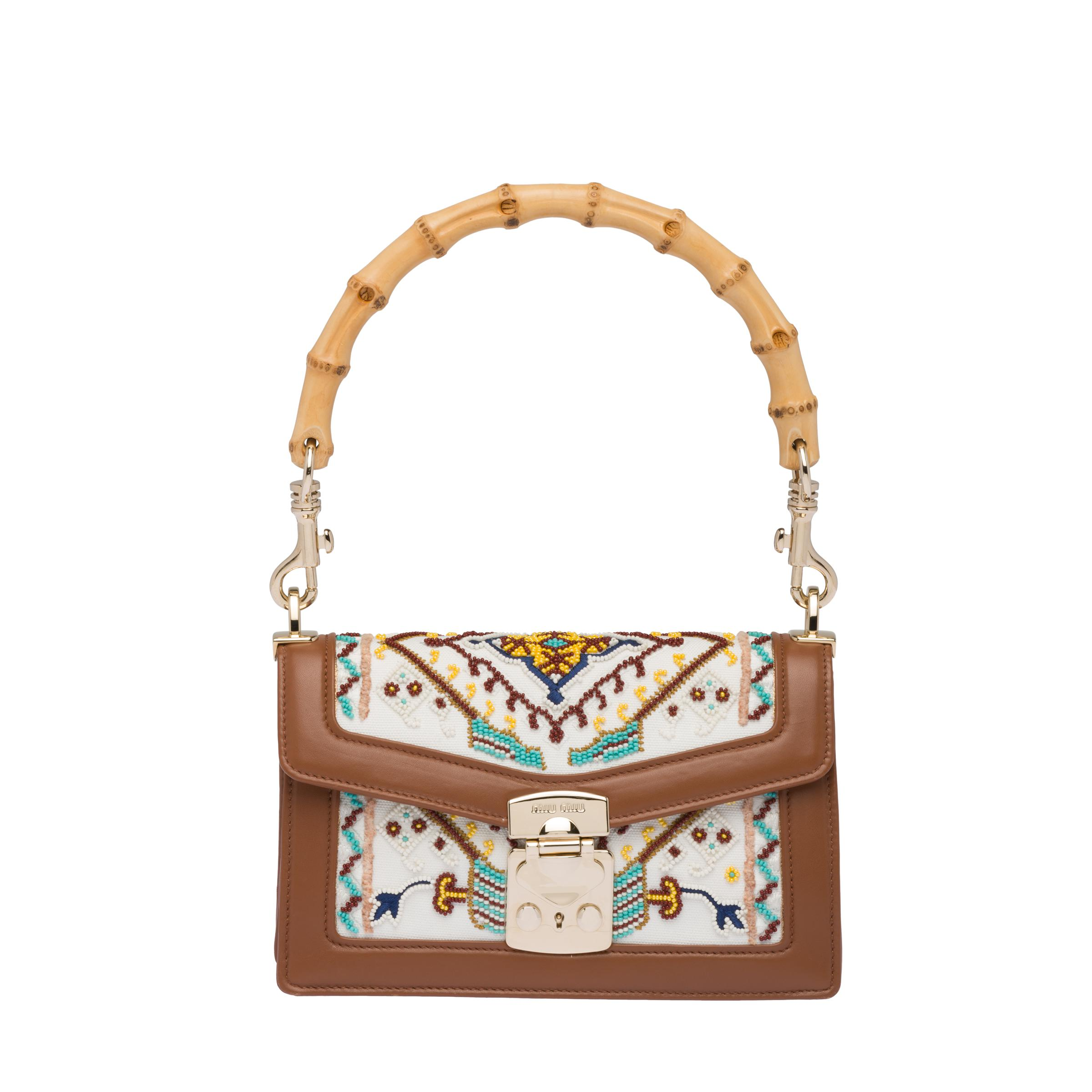 Miu Confidential Embroidered Fabric And Leather Bag Women White/cognac