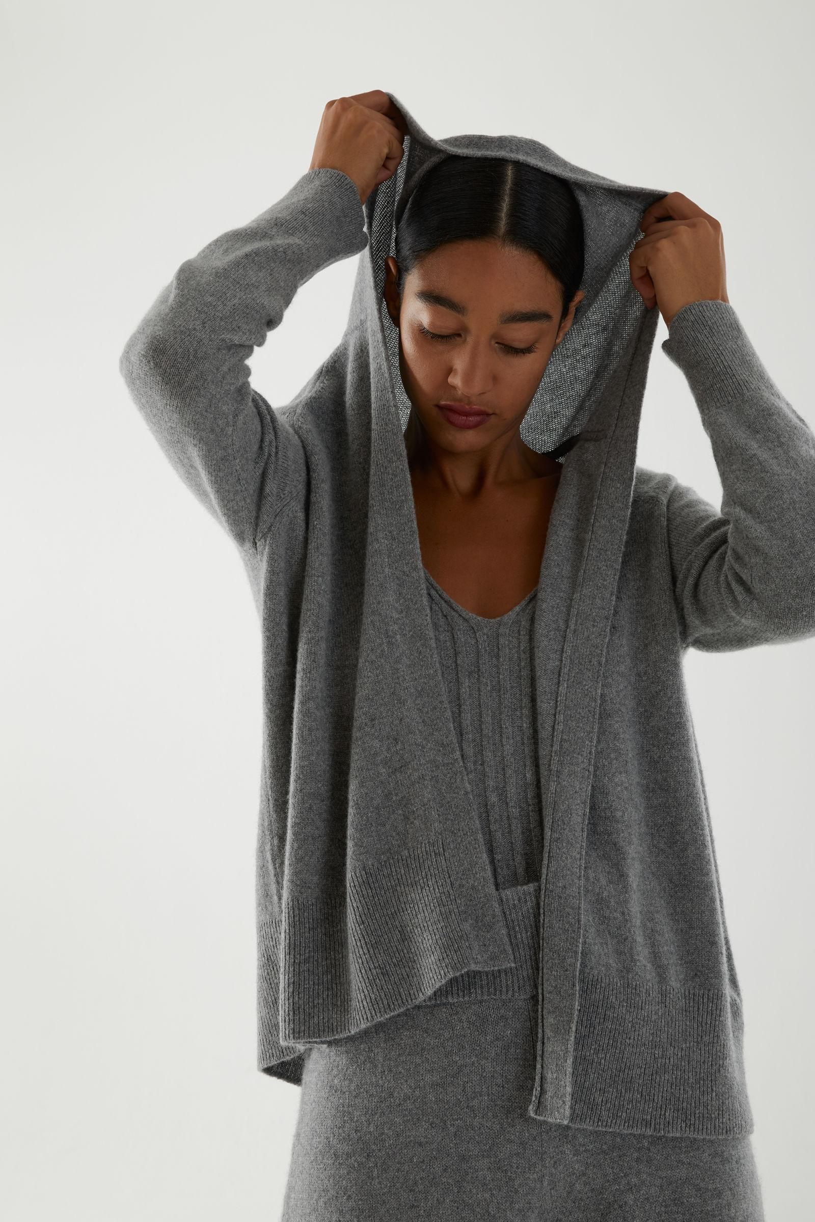 RECYCLED CASHMERE HOODIE WITH CARDIGAN PANEL