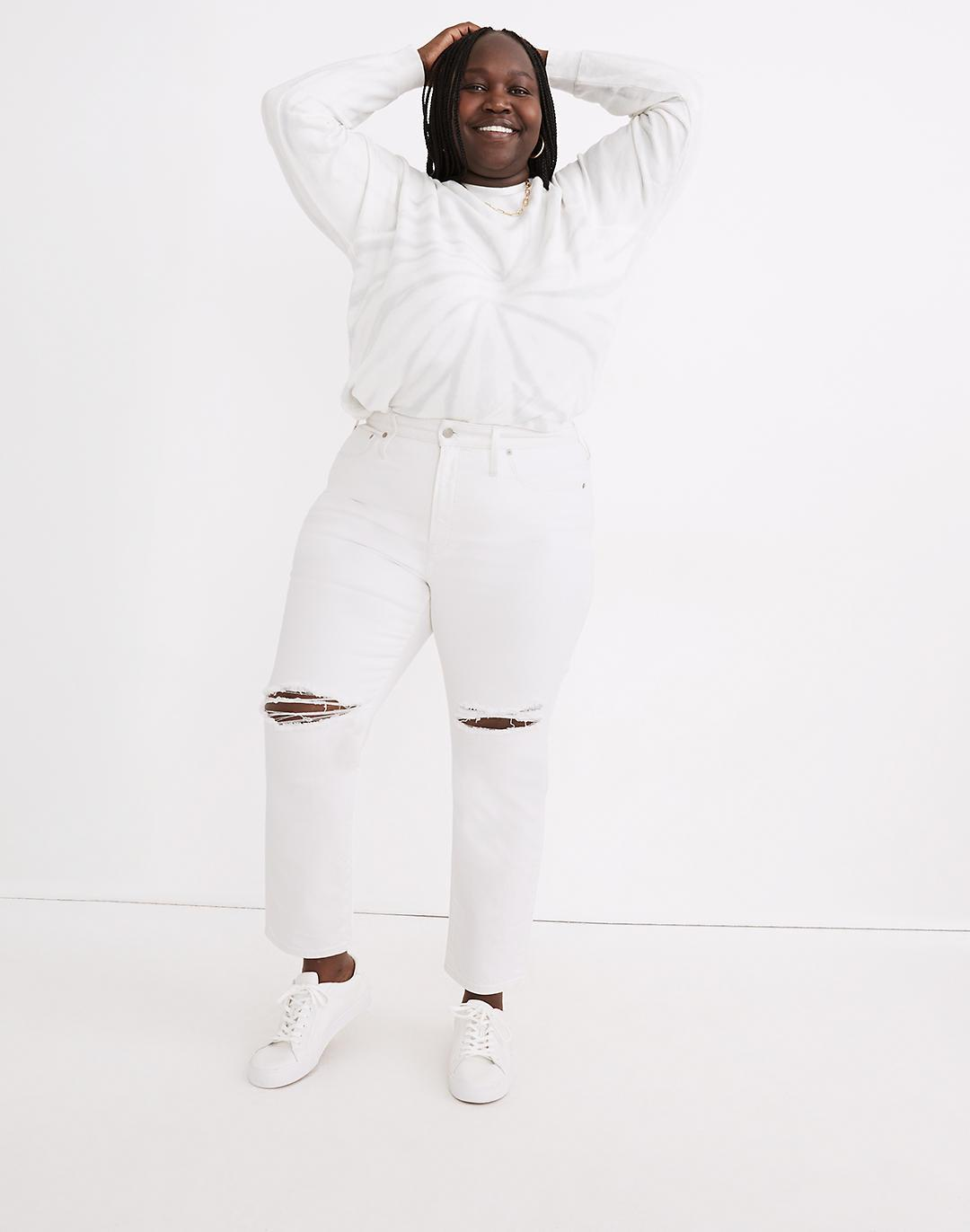 The Plus Perfect Vintage Crop Jean in Tile White: Knee-Rip Edition