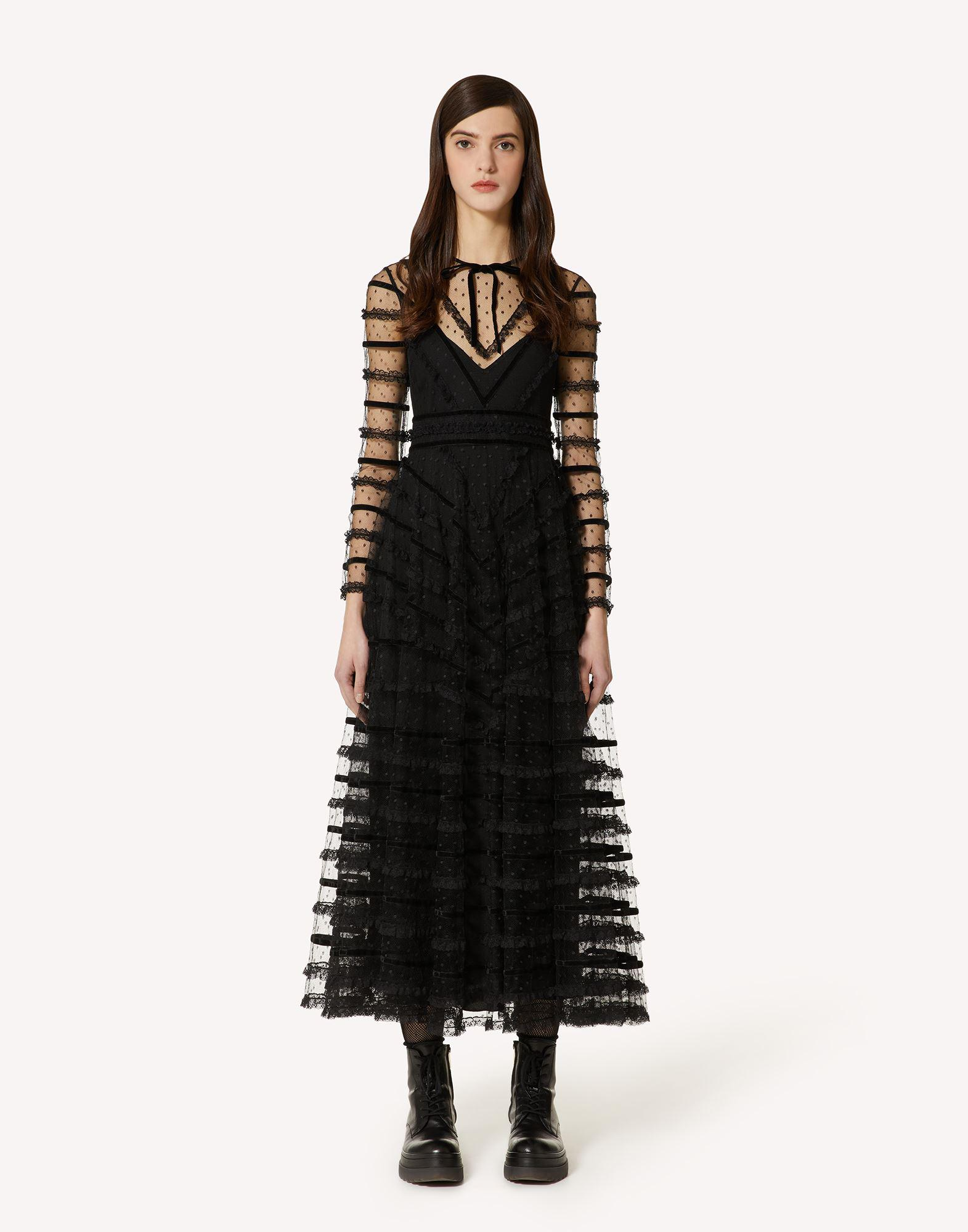 POINT D'ESPRIT TULLE DRESS WITH LACE AND VELVET RIBBONS