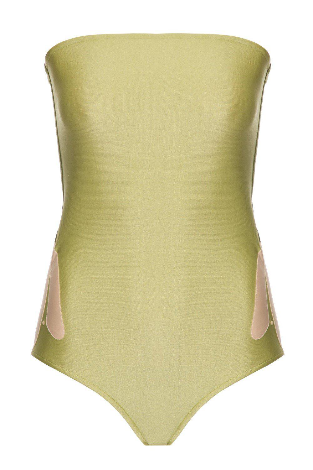 Solid Strapless Swimsuit With Muguet Applications 3