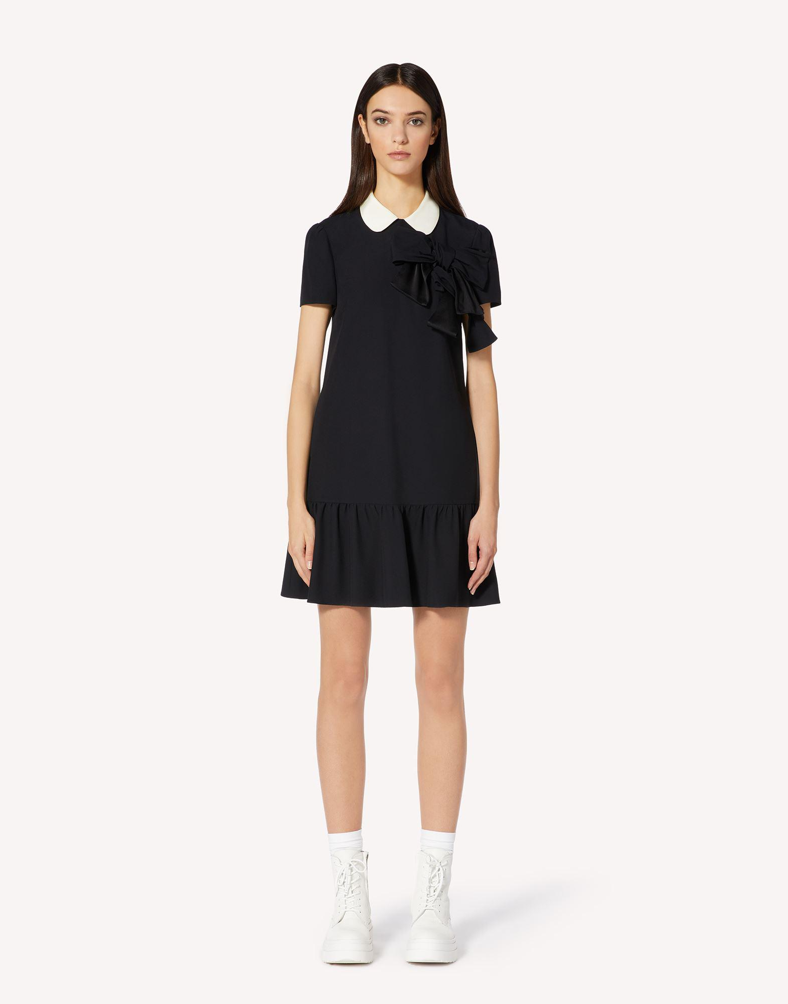 CREPE ENVERS SATIN DRESS WITH COLLAR DETAIL AND BOWS