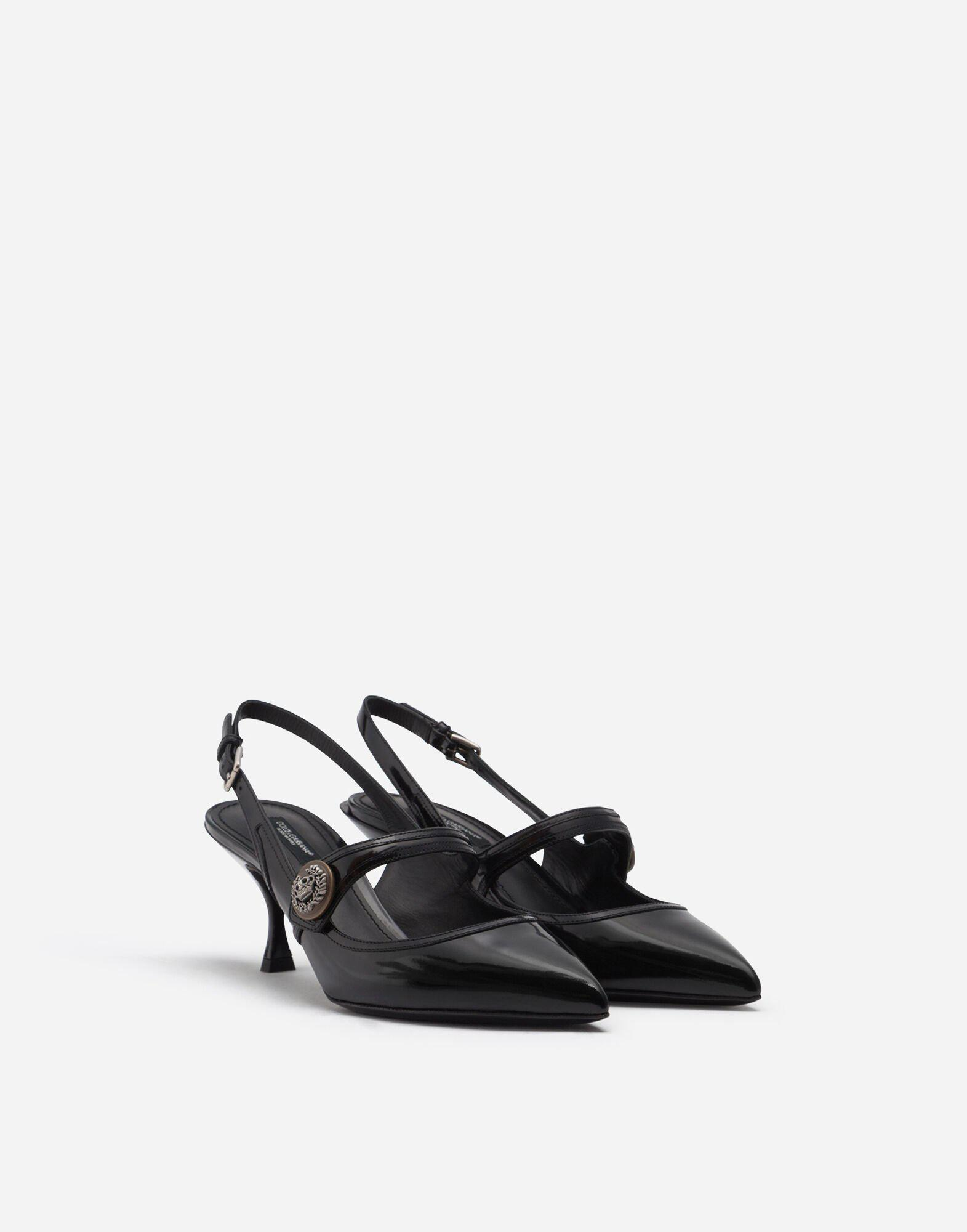 Sling back shoes in polished calfskin with buttons 1