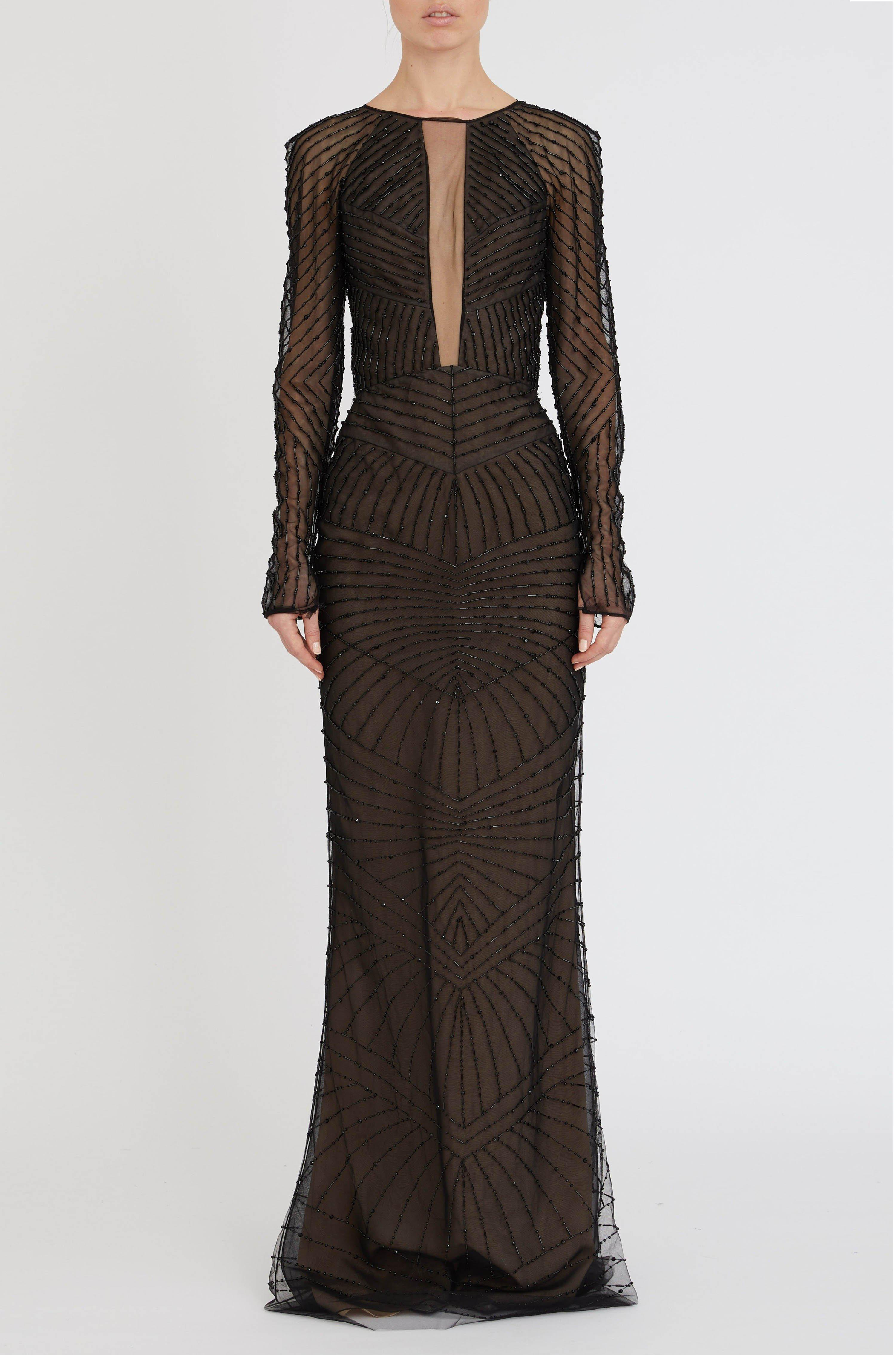 EMBROIDERED ILLUSION GOWN