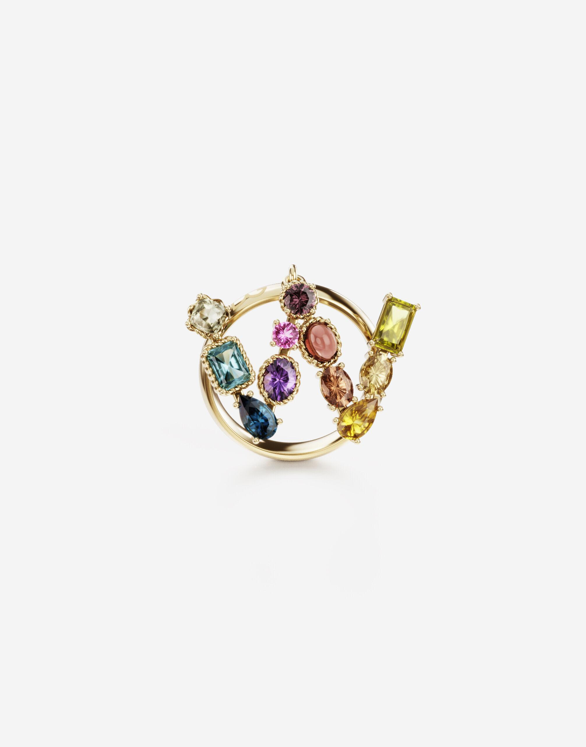 Rainbow alphabet W ring in yellow gold with multicolor fine gems