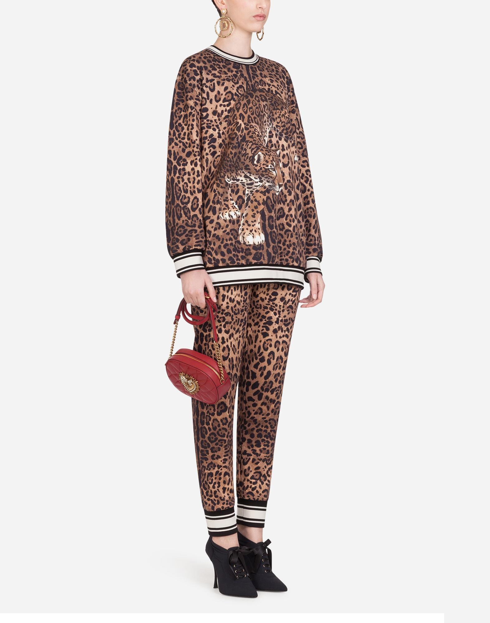 Jersey jogging pants with leopard print 2