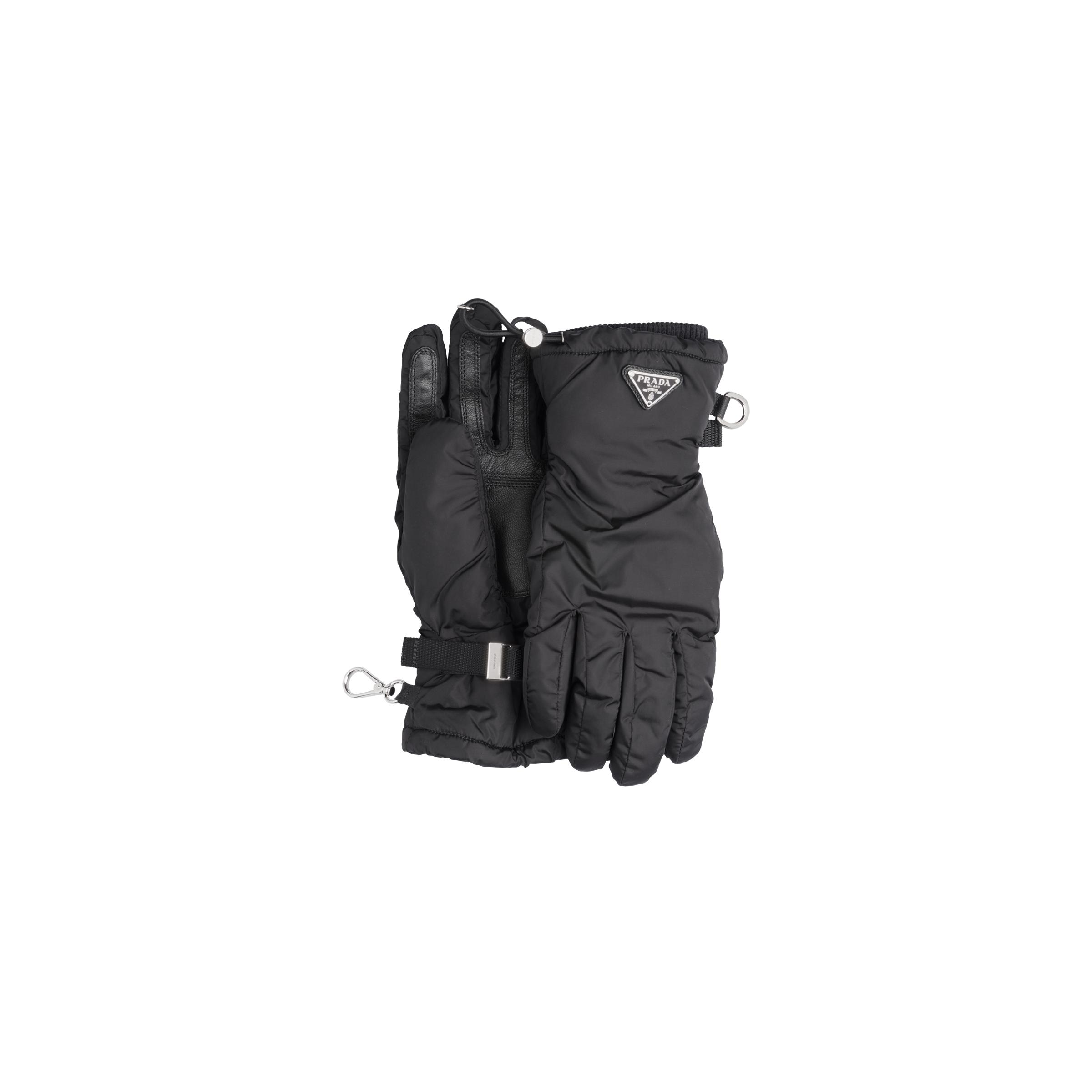Nylon Gloves With Nappa Leather Inserts Women Black