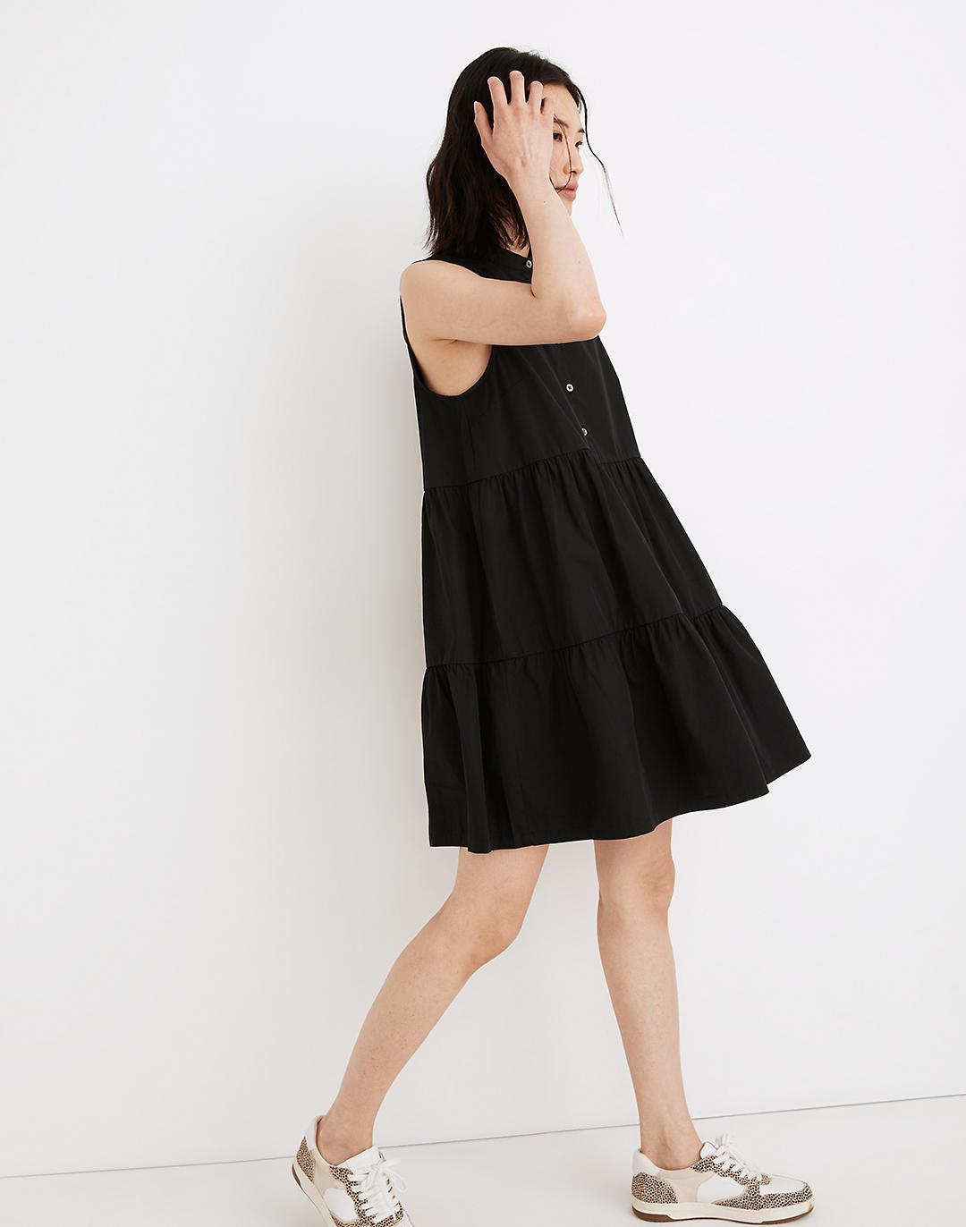 Banded-Collar Tiered Dress 1