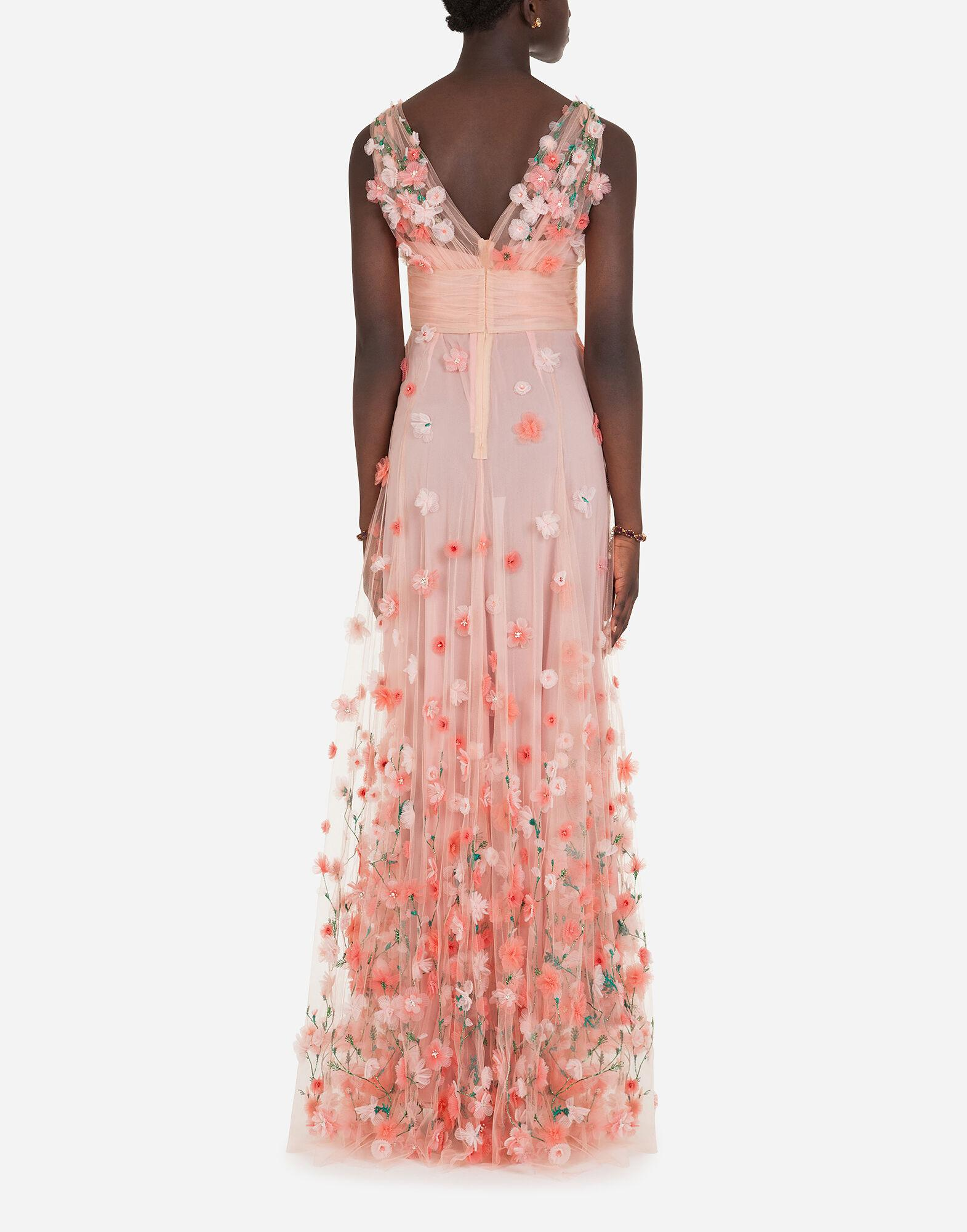 Long dress in tulle with sequins and mini hand-embroidered flowers 1
