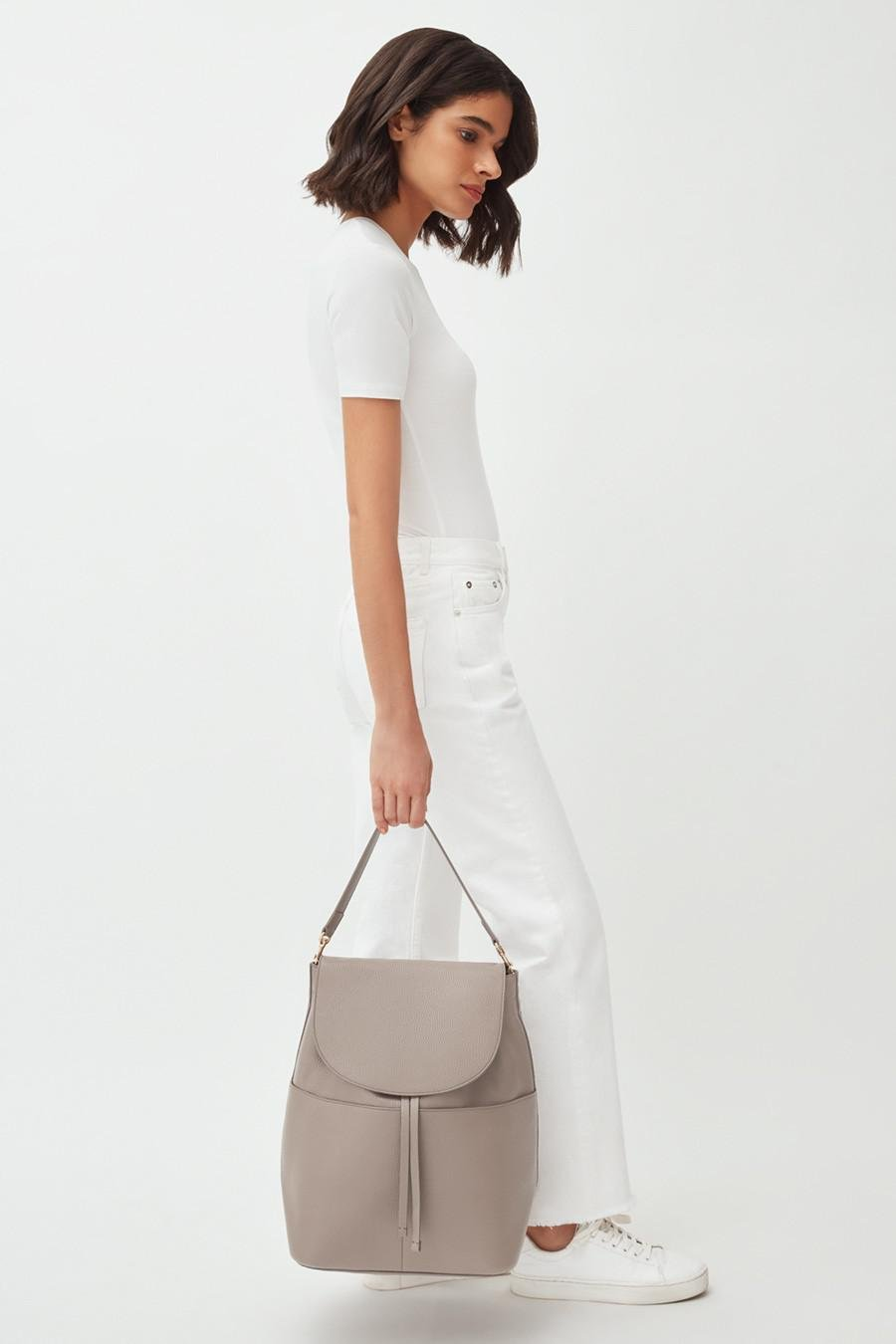 Women's Large Leather Backpack in Stone | Pebbled Leather by Cuyana 6