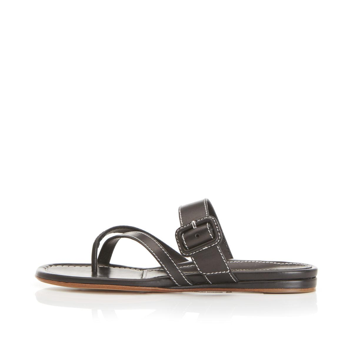 Hayley | Leather Thong Sandal With Leather Wrapped Buckle Detail