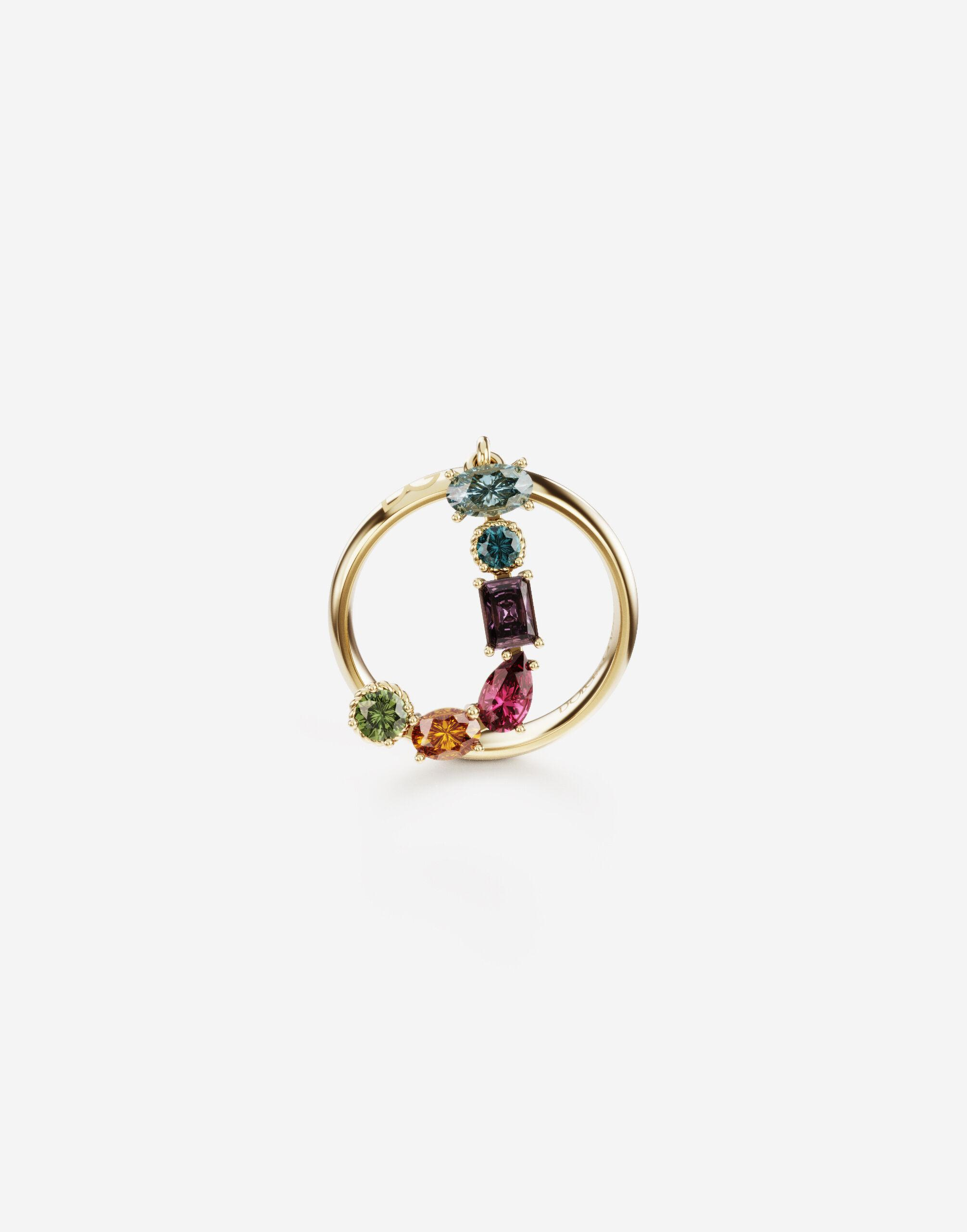 Rainbow alphabet J ring in yellow gold with multicolor fine gems