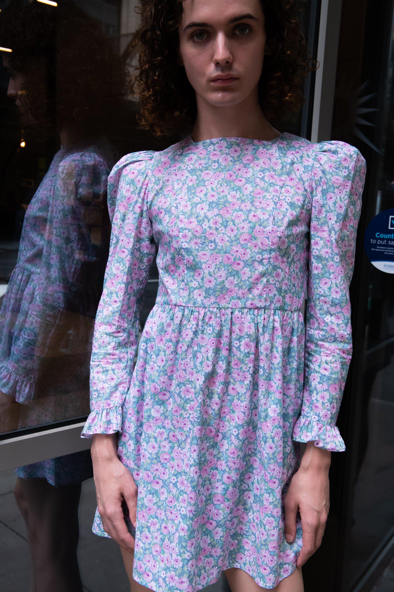 Minidress in Blue and Pink Floral 2