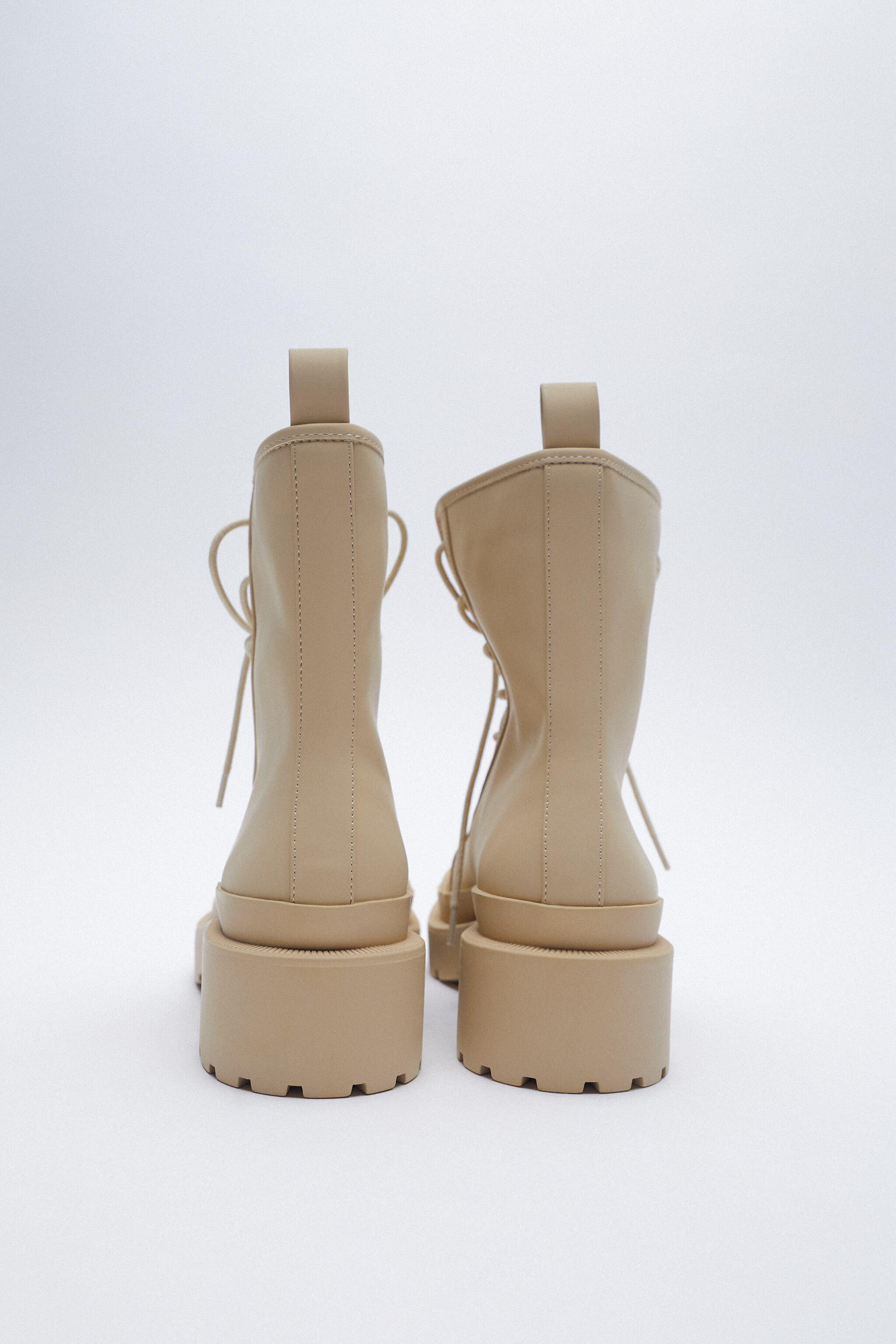 RUBBERIZED LOW HEEL LACE-UP ANKLE BOOTS 6