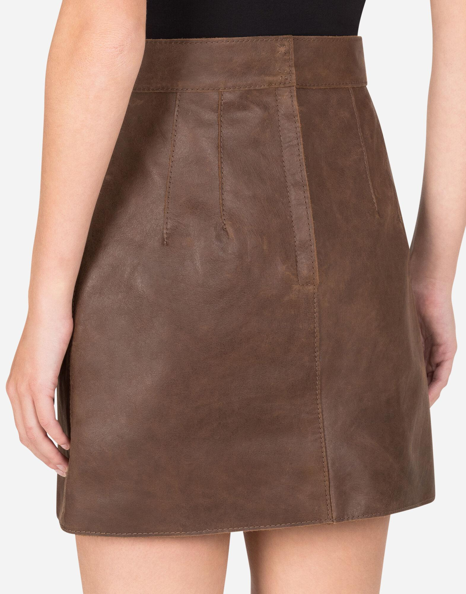 A-line miniskirt in hammered nappa leather 5