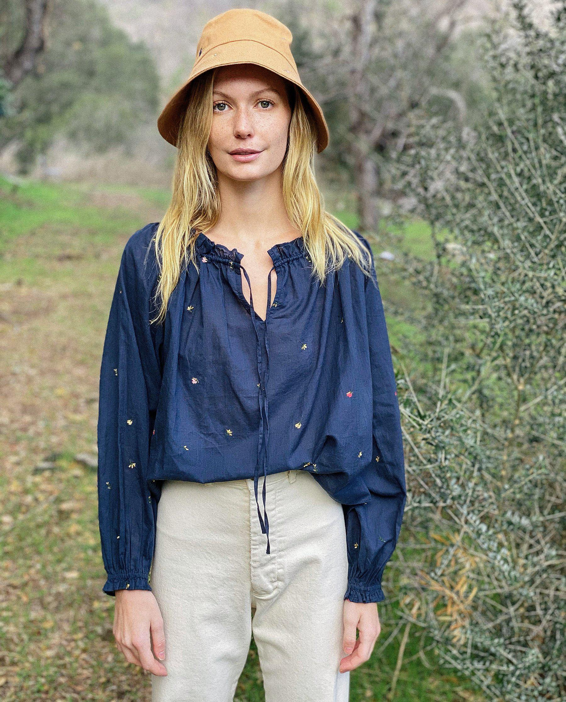 The Posey Top. -- Navy with Tossed Floral Embroidery 3