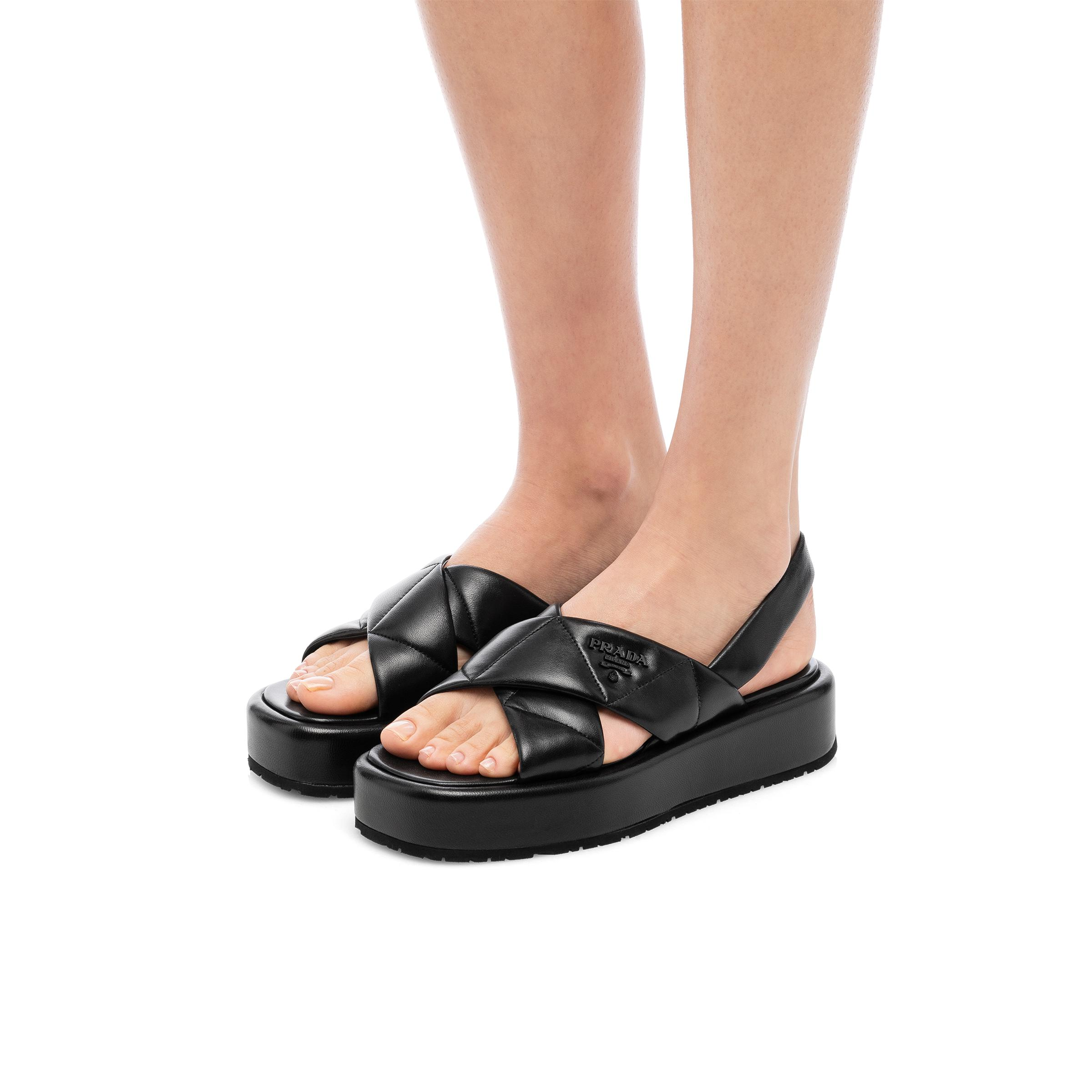 Quilted Nappa Leather Flatform Sandals Women Black 4