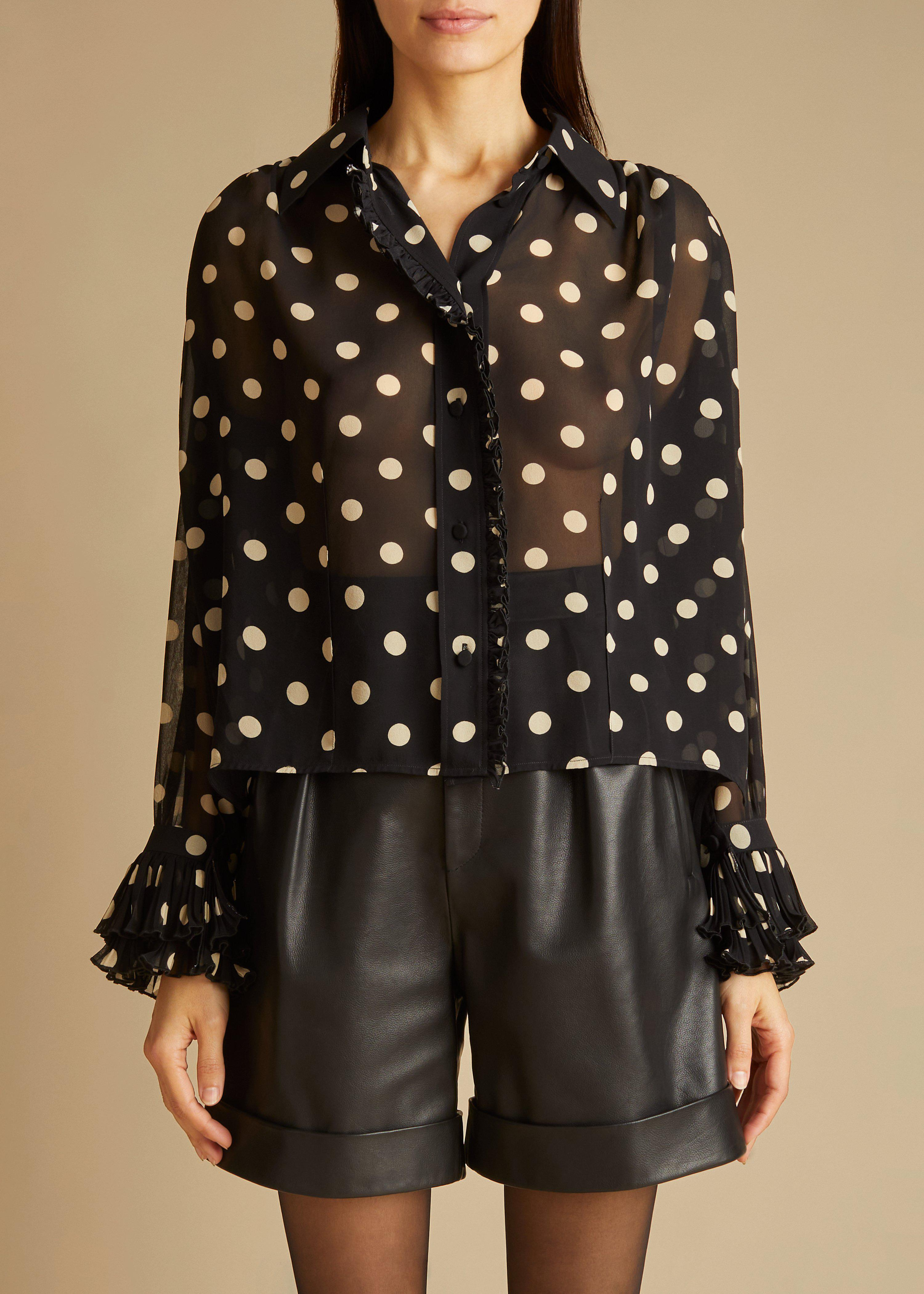 The Vanina Top in Black and Creme Dot 2