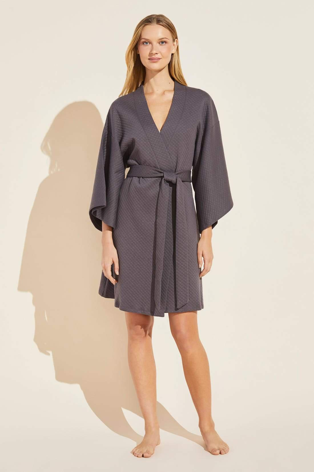 Zen Quilted Cotton Spa Robe - Pebble