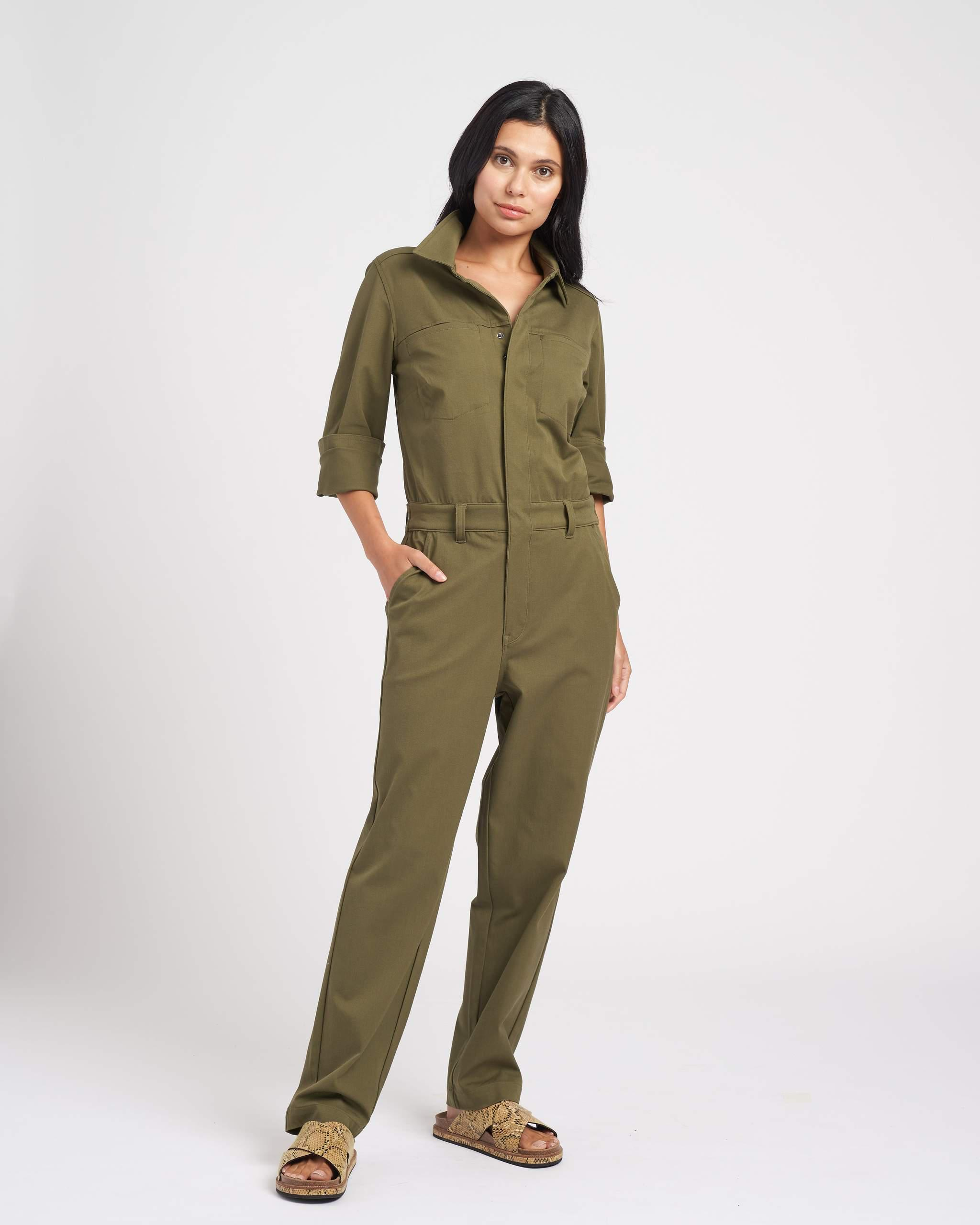 Cinched Stretch Twill Jumpsuit