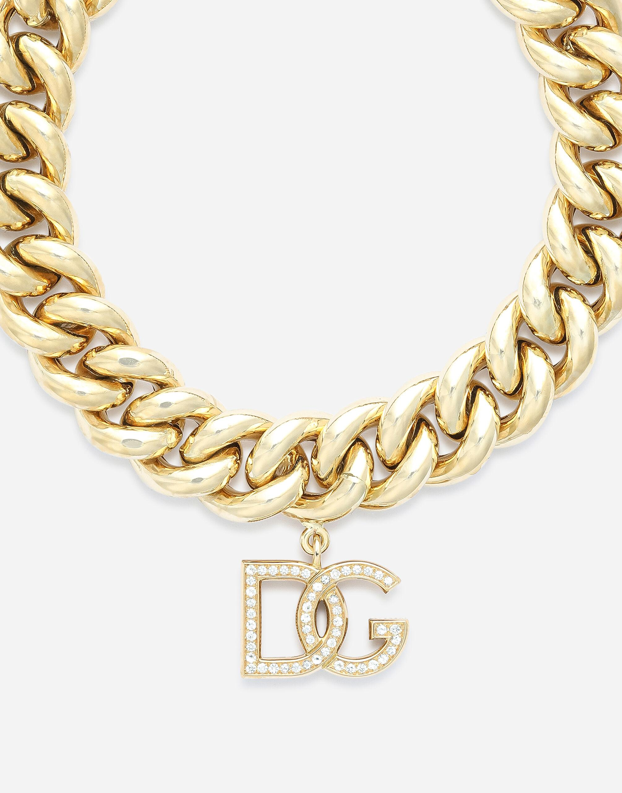 Logo bracelet in yellow 18kt gold with colorless sapphires 1
