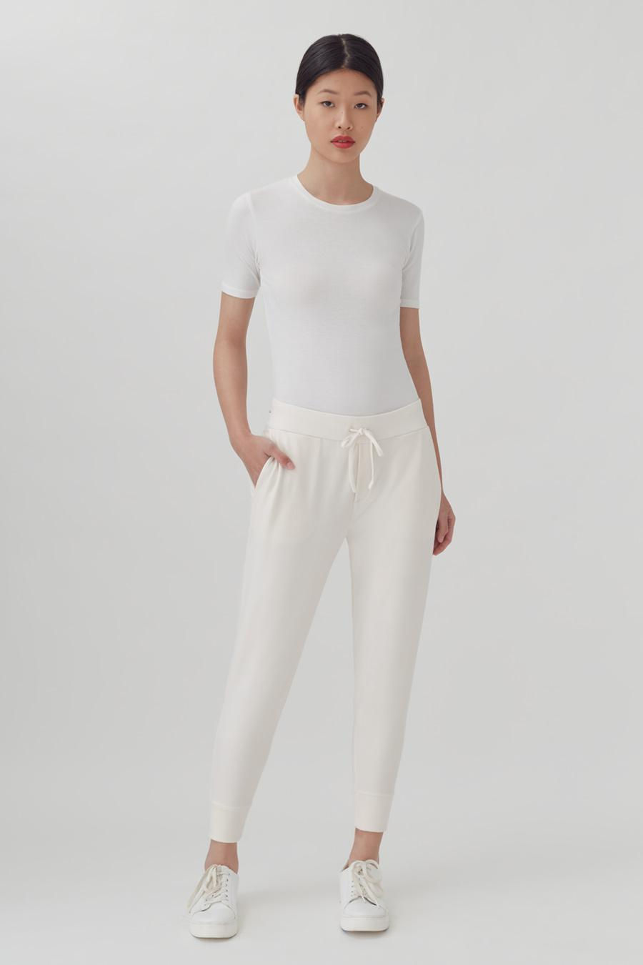 Women's French Terry Tapered Lounge Pant in Ecru   Size: 1