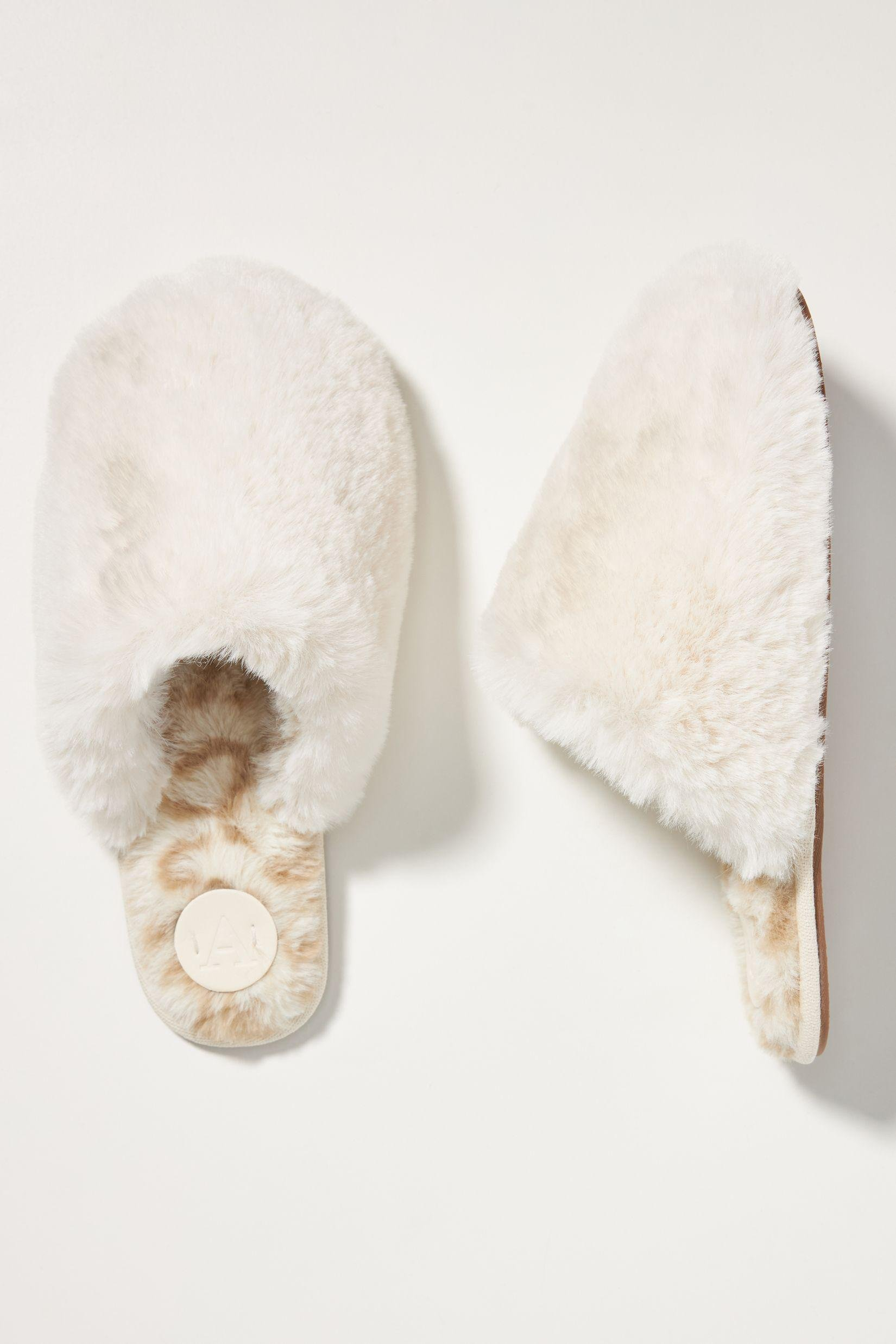 Colorblocked Faux Fur Slippers