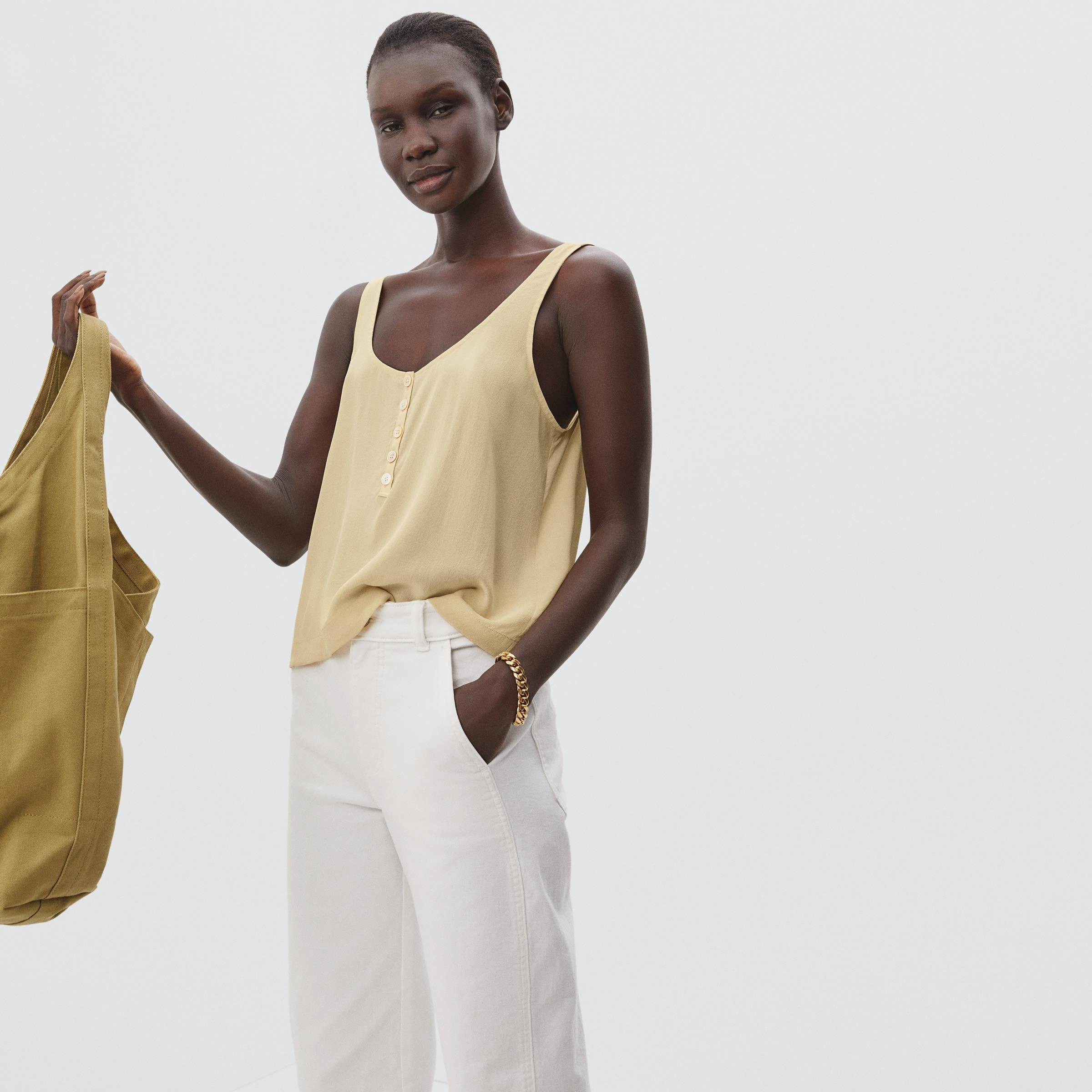 The Washable Silk Henley Tank