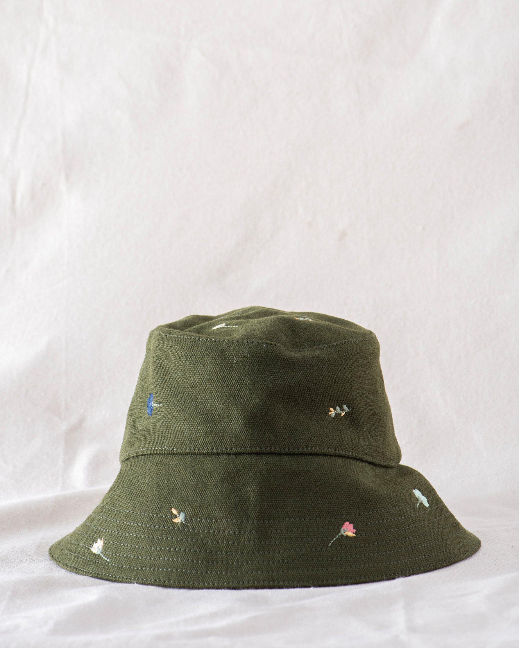 The Bucket Hat. -- Army with Tossed Floral Embroidery