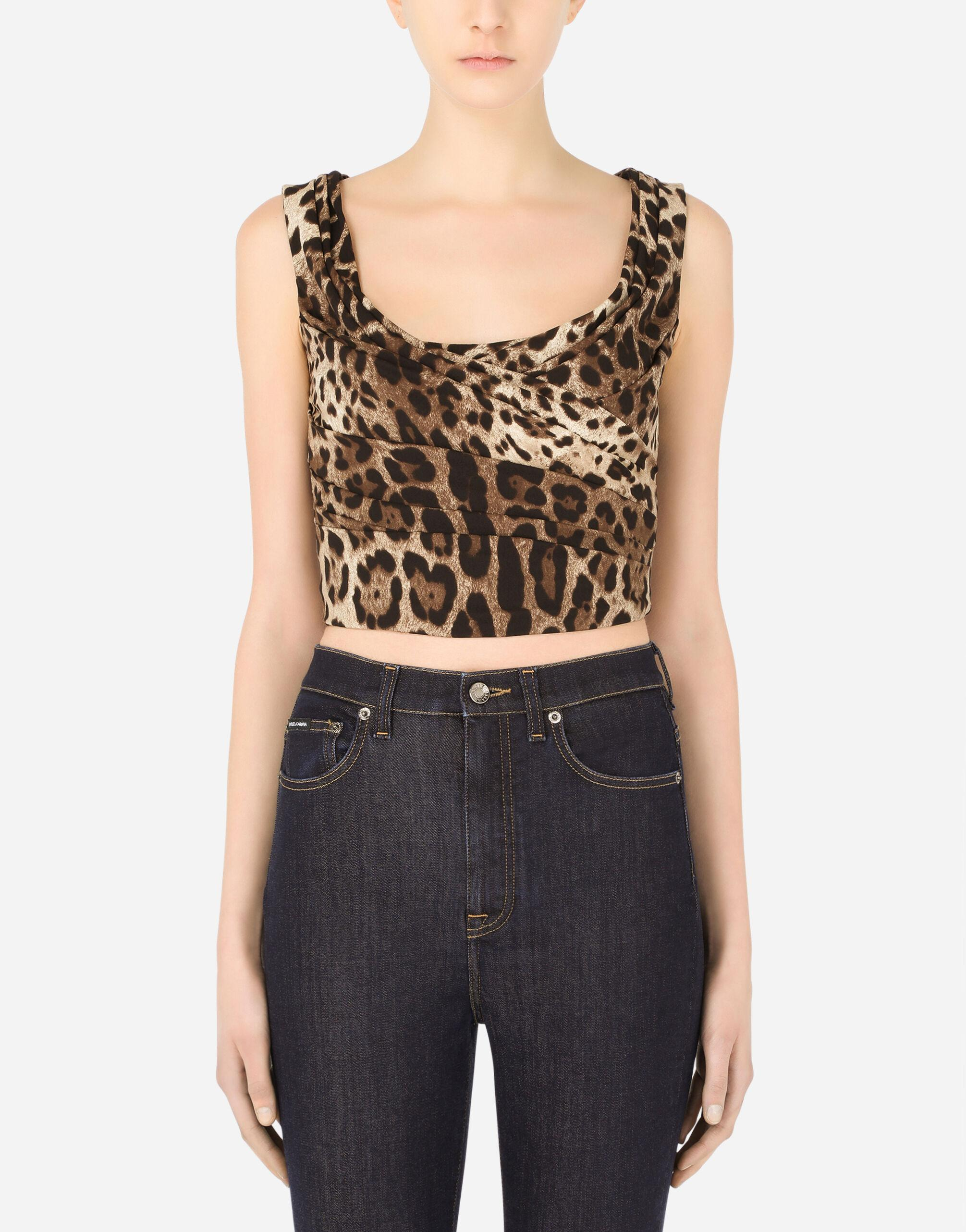 Leopard-print charmeuse top with draping