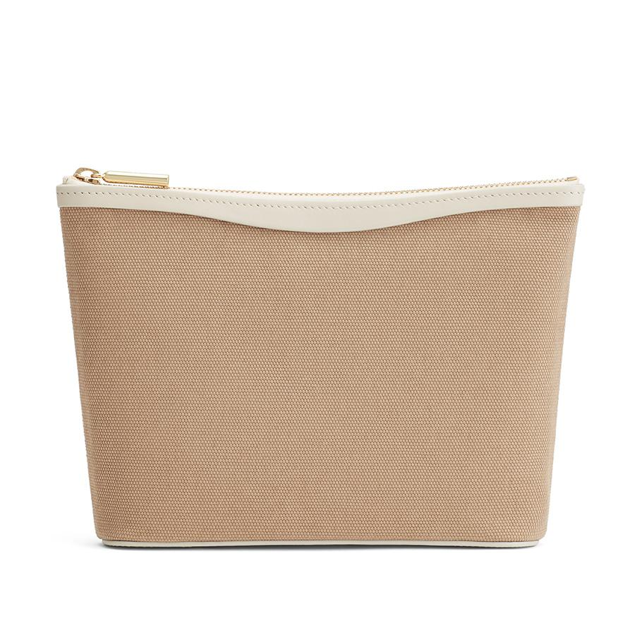 Women's Small Canvas Zipper Pouch in Sand/Ecru | Canvas & Smooth Leather by Cuyana