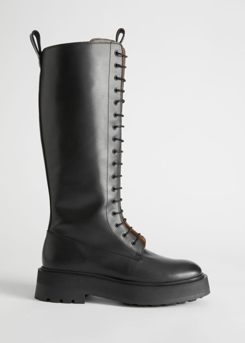 Chunky Knee High Leather Boots