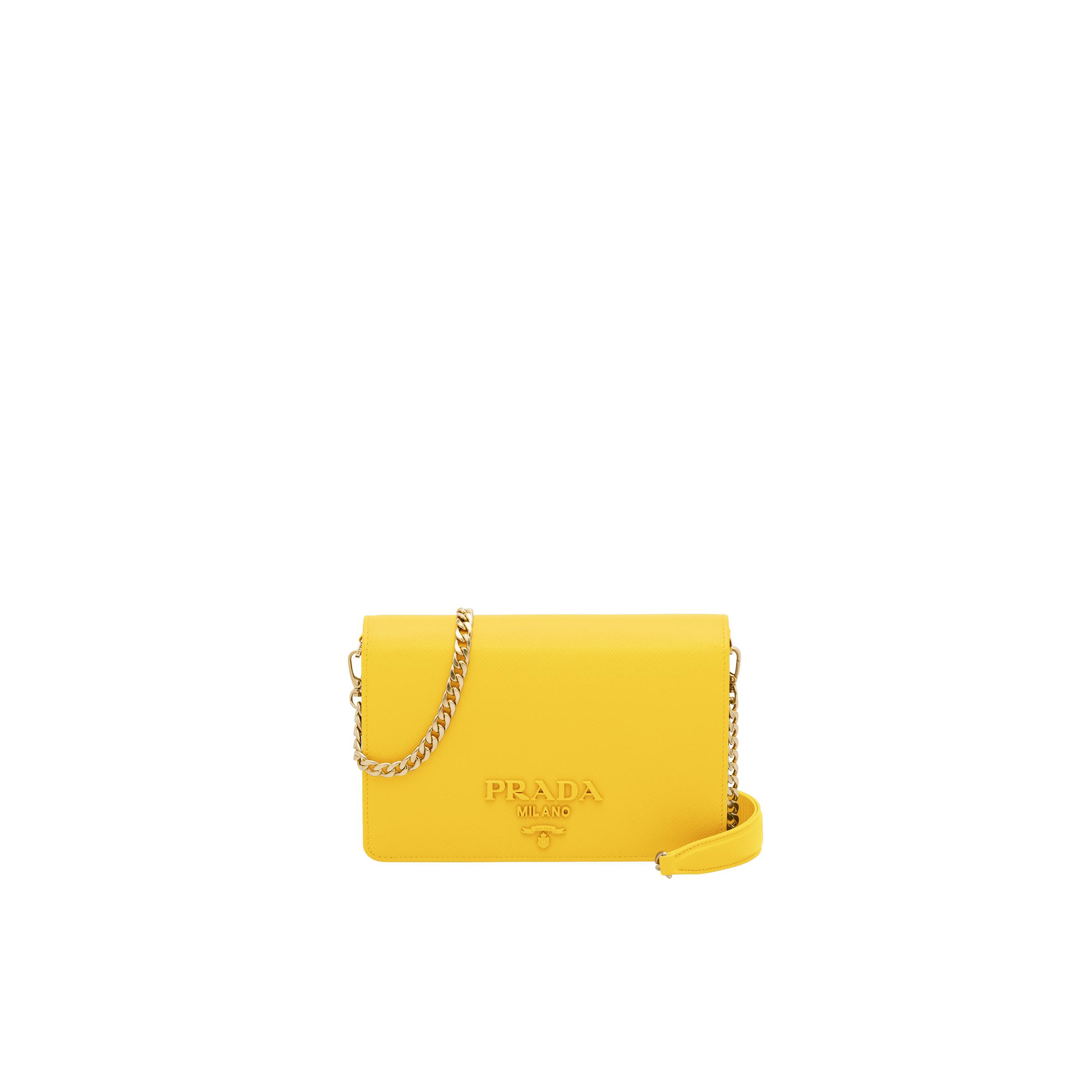 Saffiano Leather Shoulder Bag Women Sunny Yellow