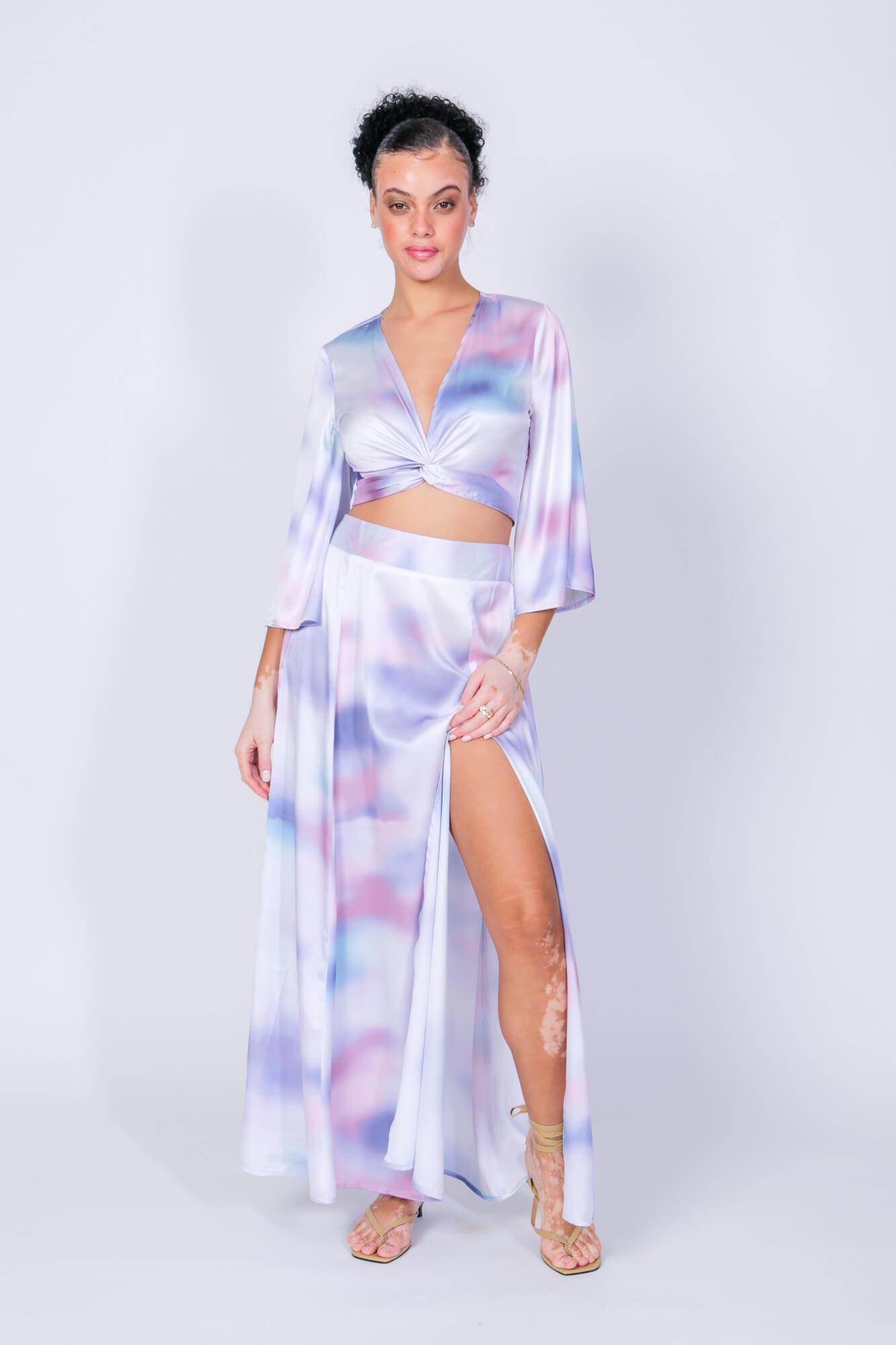 Ashford Simpson Crop Top and Maxi Swing Skirt Two Piece Set