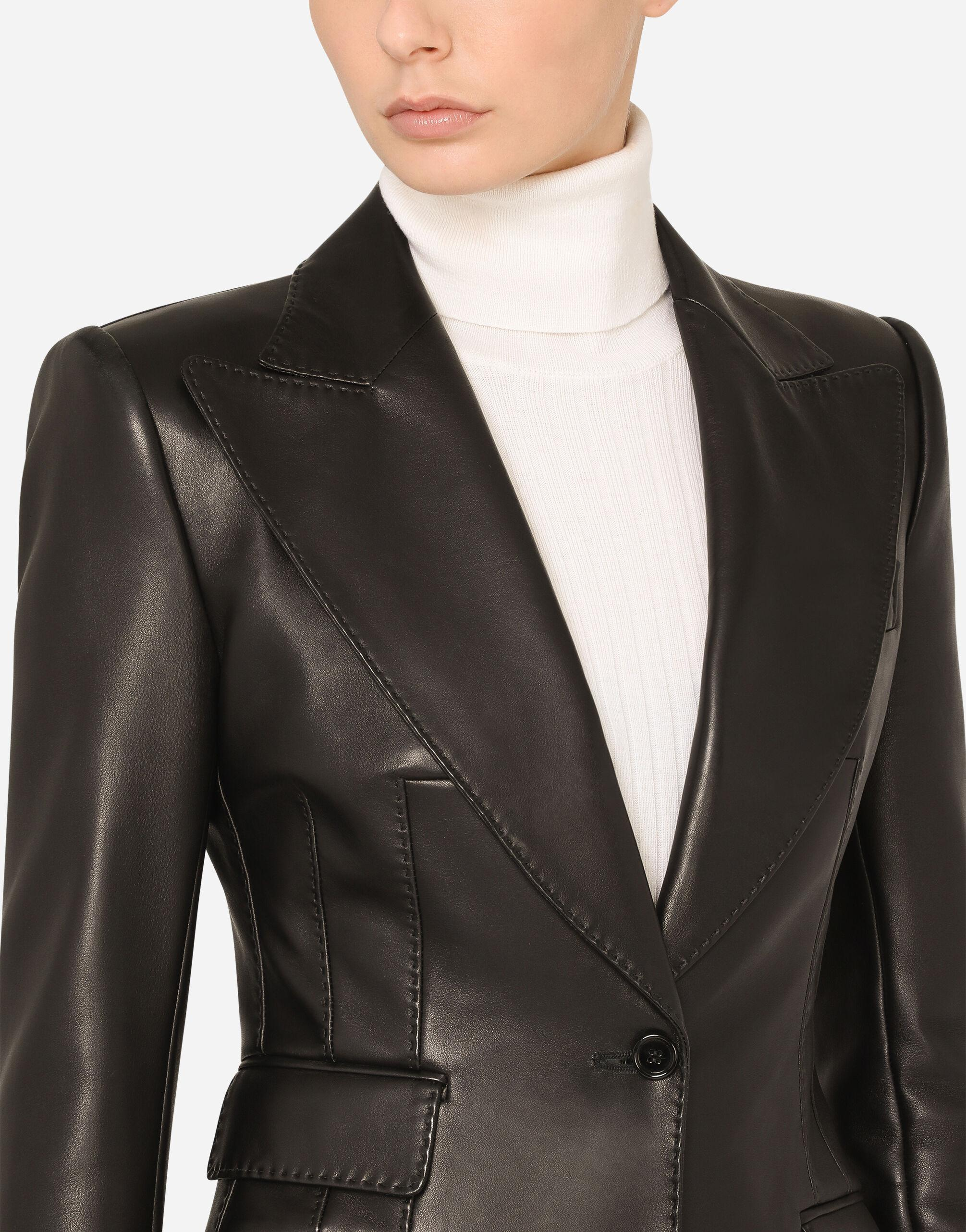 Single-breasted leather blazer 4