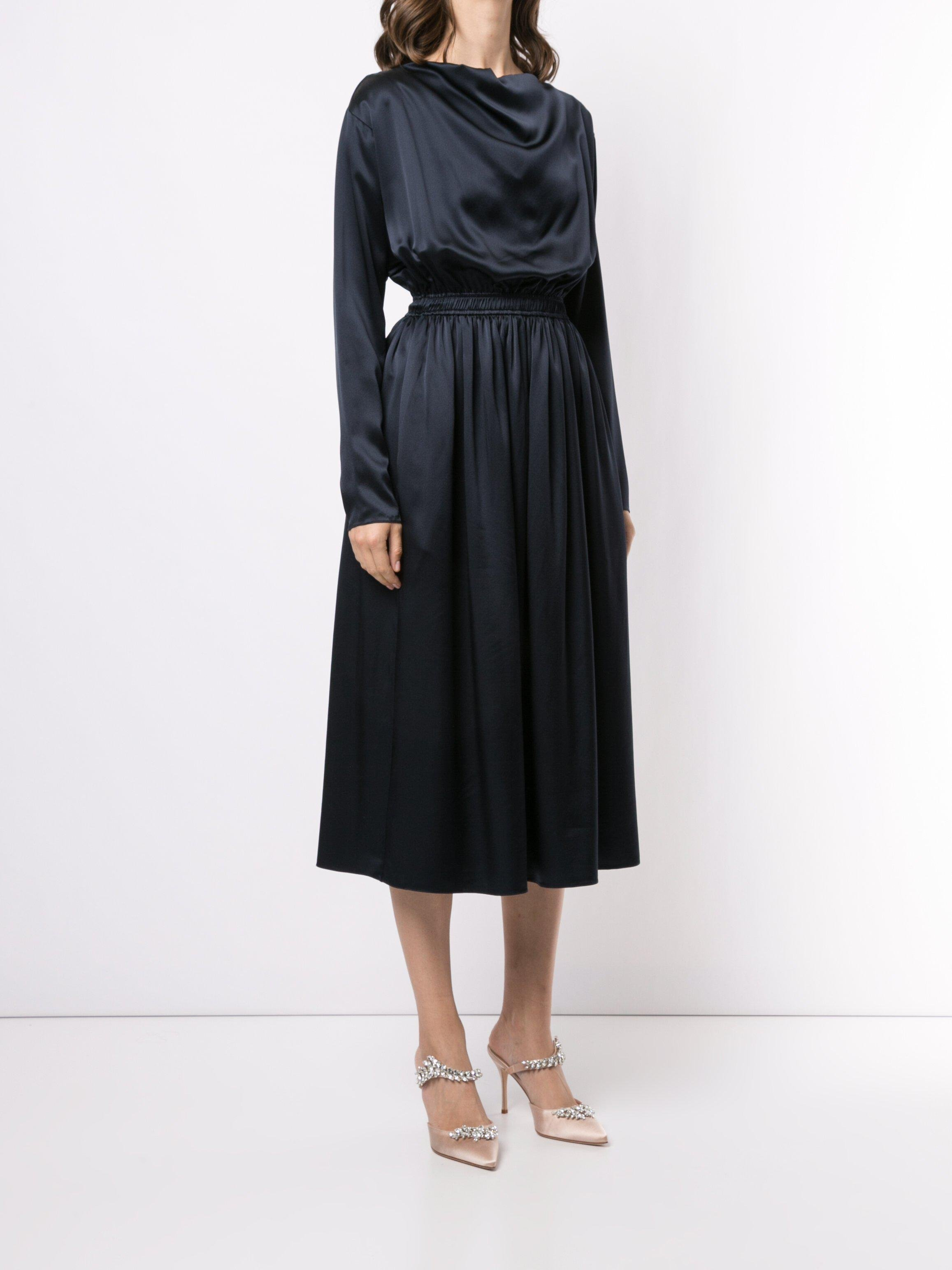 COWL NECK DRESS IN SILK CHARMEUSE 2