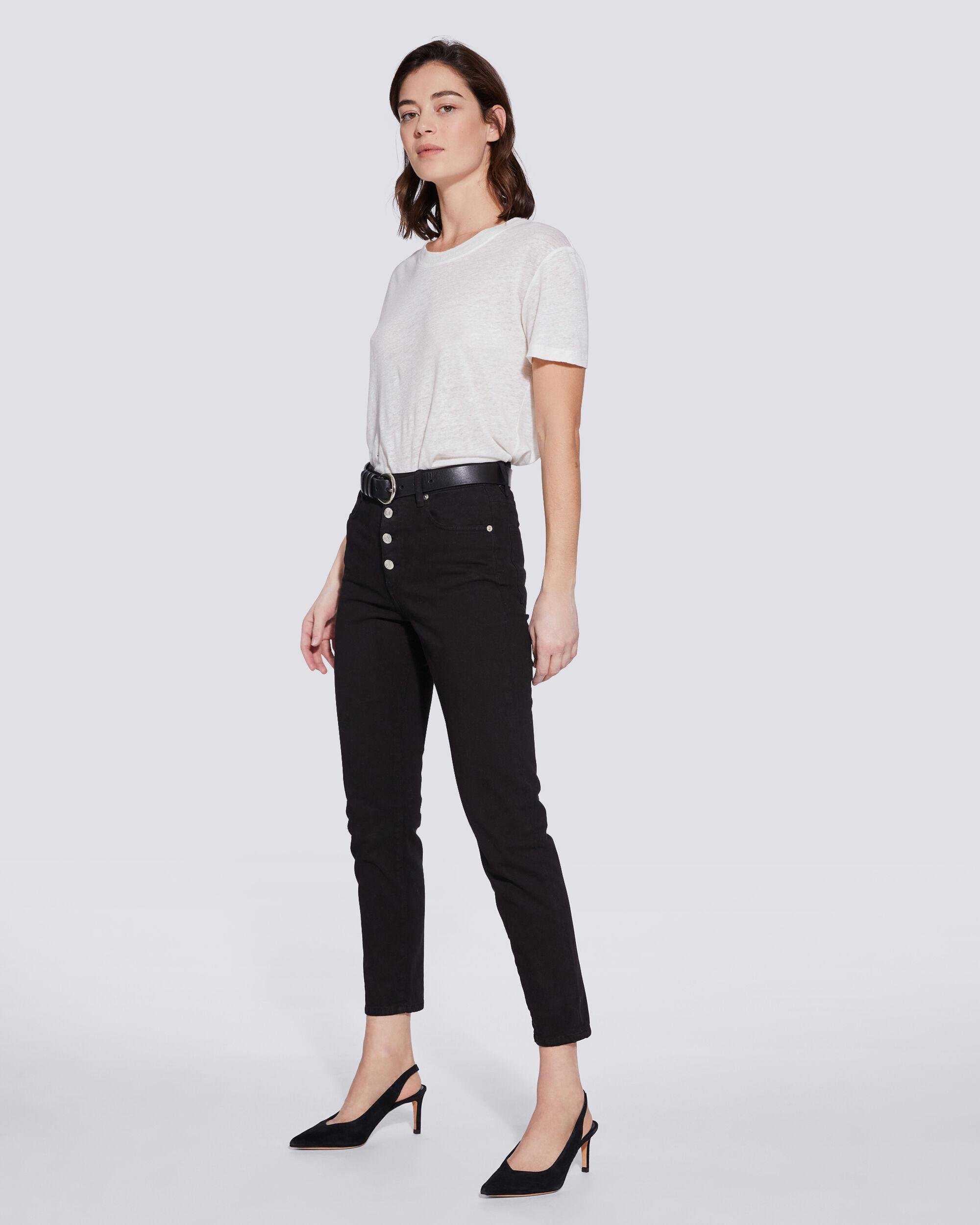 ESME HIGH RISE BUTTON FRONT CROPPED JEANS 1