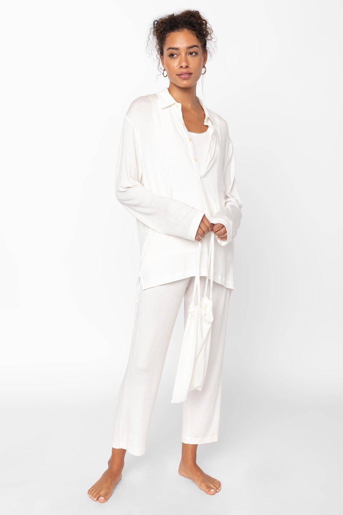 Nora Nuit Half Button Up - White 1