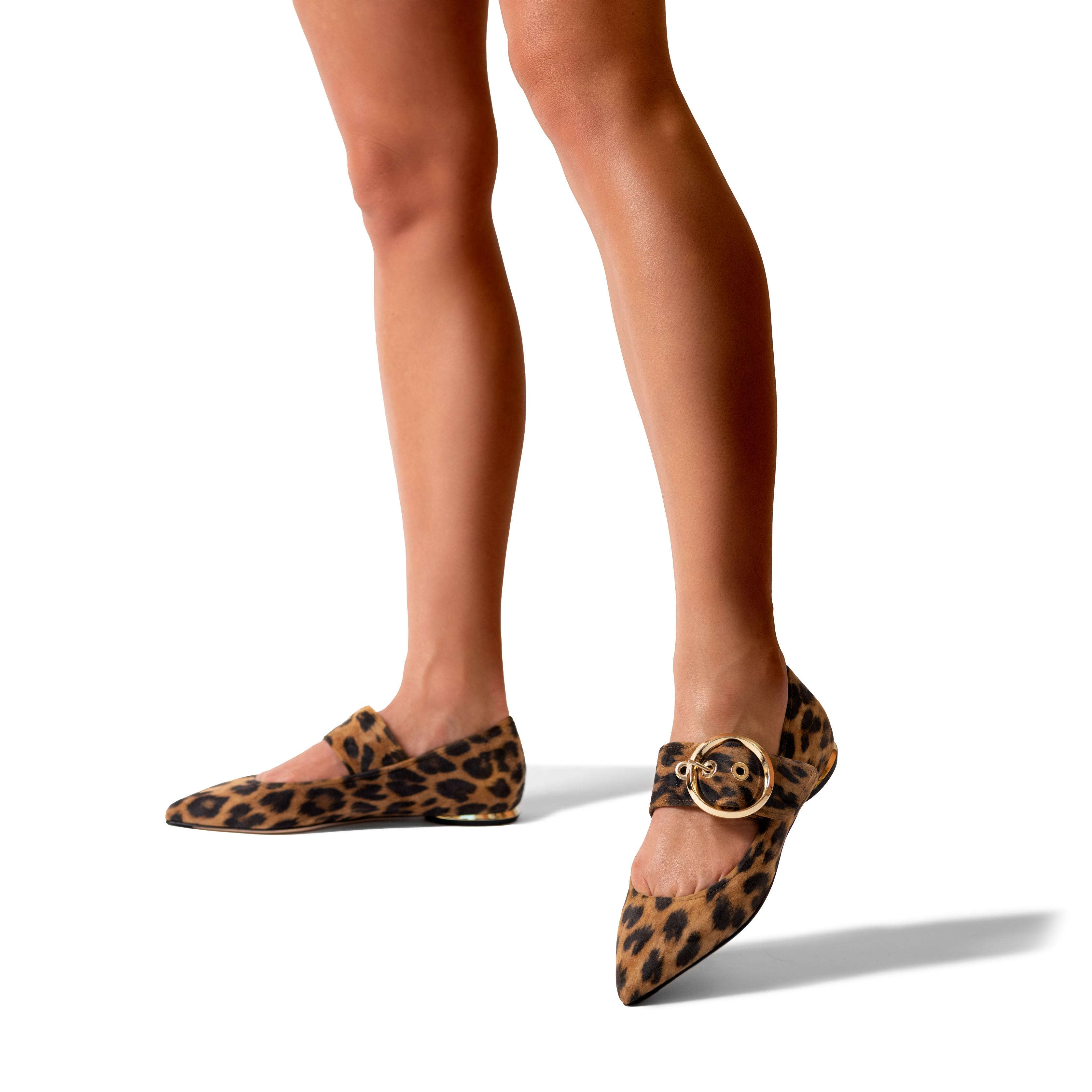 Nina | Leopard Print Suede Pointy Toe Mary Jane Flat With Buckle 3