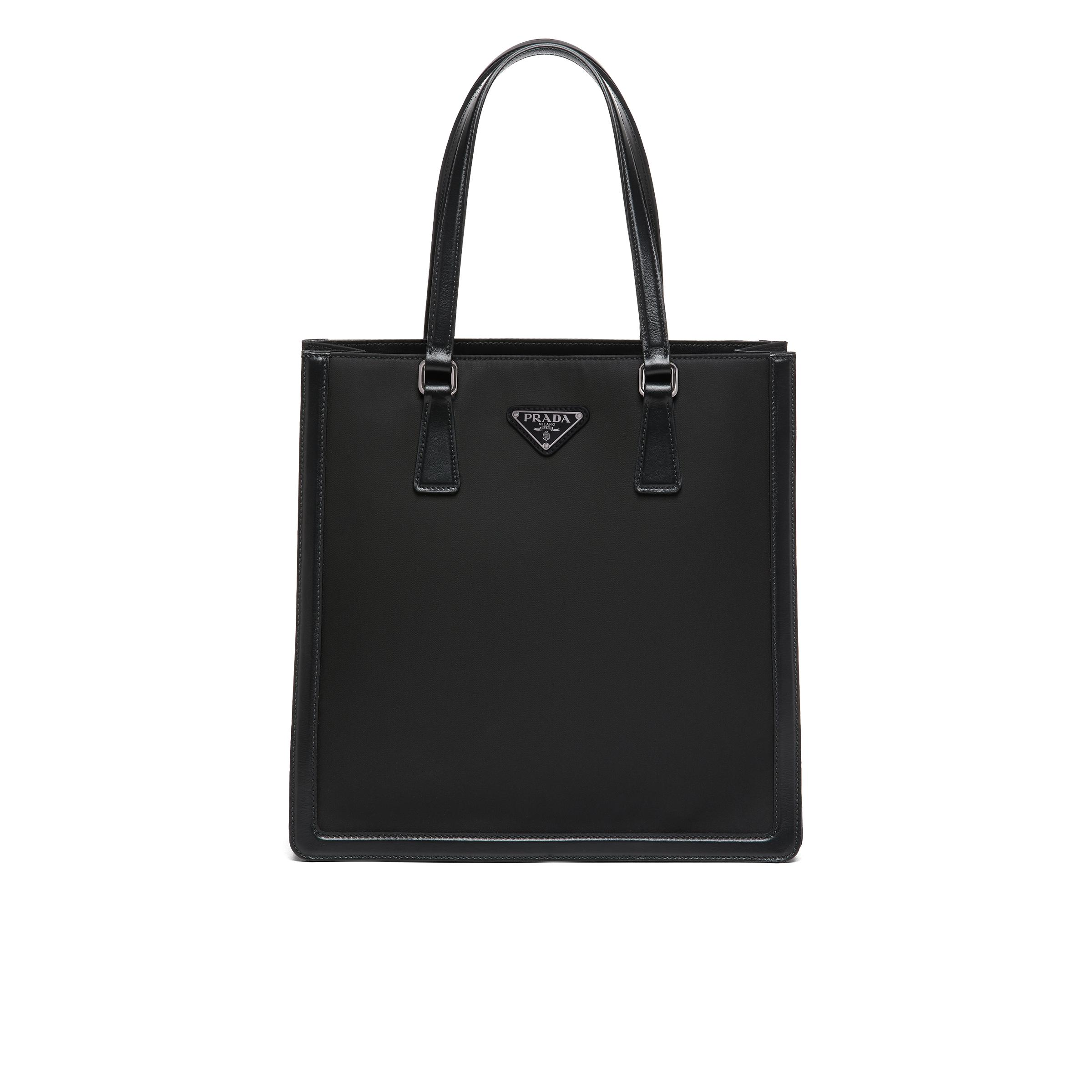 Leather And Nylon Tote Bag Women Black