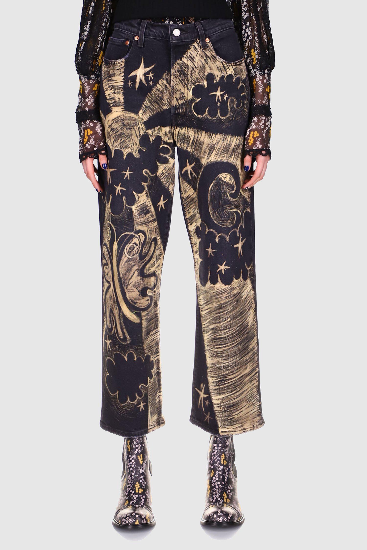 Cosmic Hand Painted Jeans Black