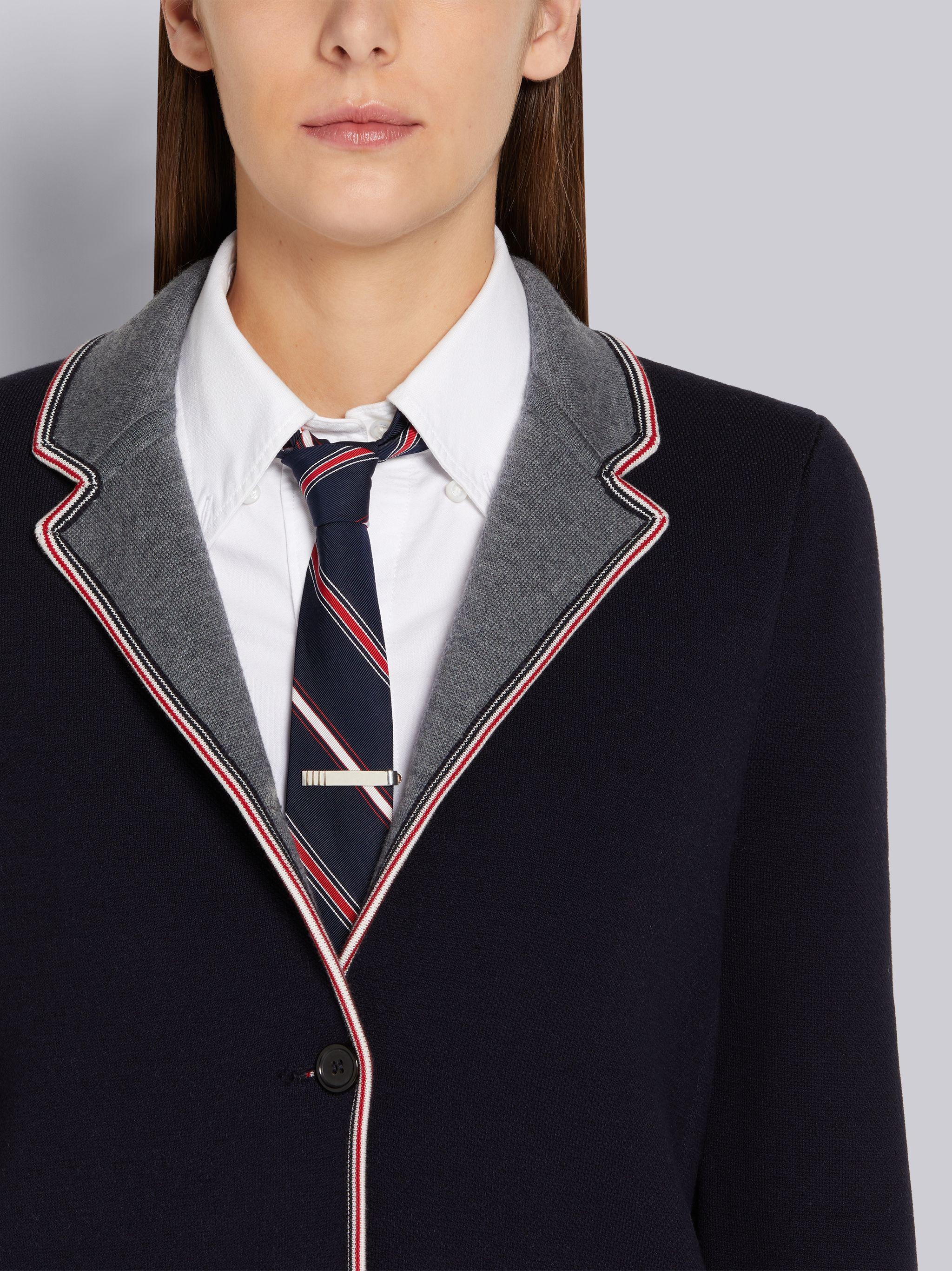 Navy Cotton and Merino Jersey Double Face Stripe Pique Tipping Sport Coat 4