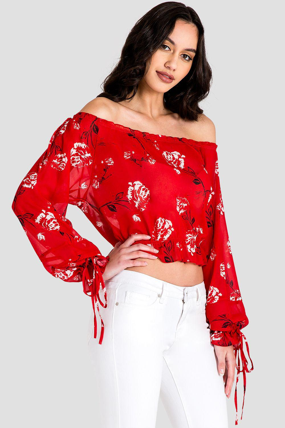 Marina Off Shoulder Tie Sleeve Red Blouse