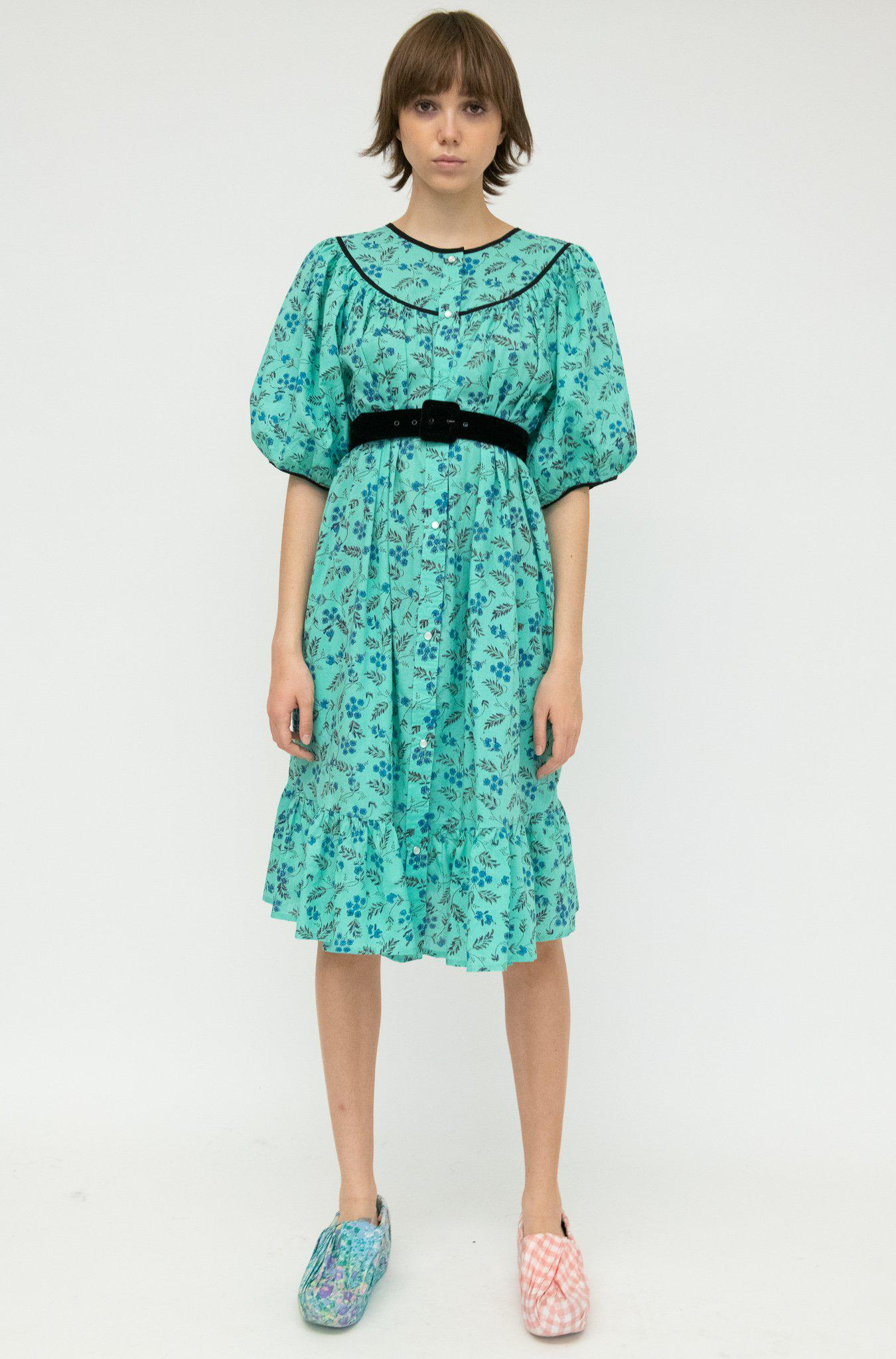 Snap Housedress in Green Floral