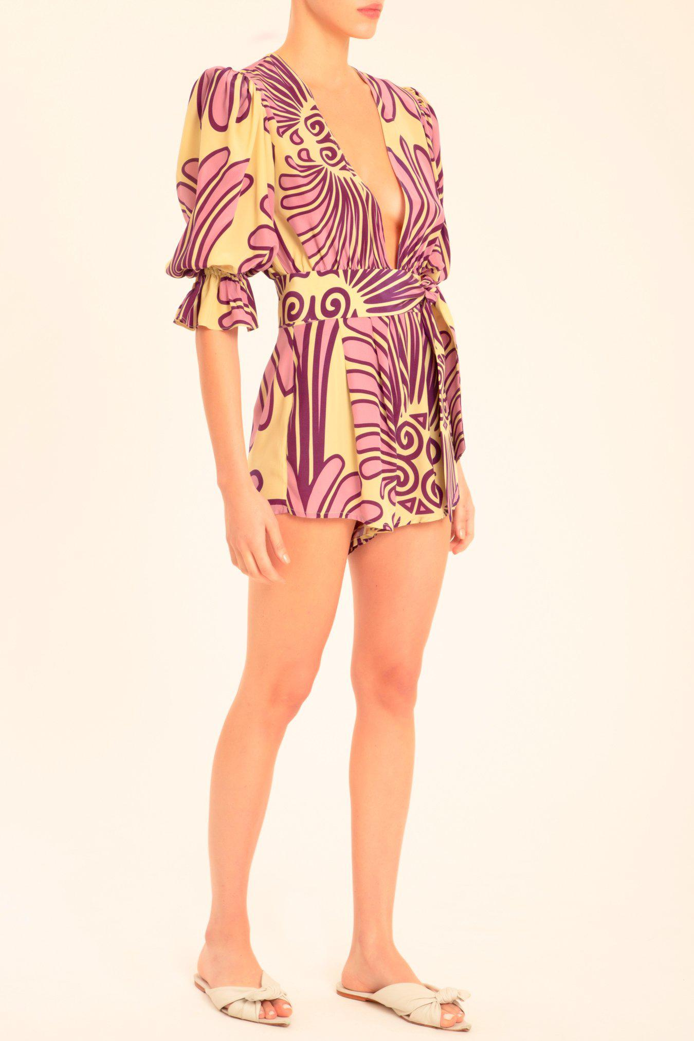 Deco Shell Playsuit With Sash